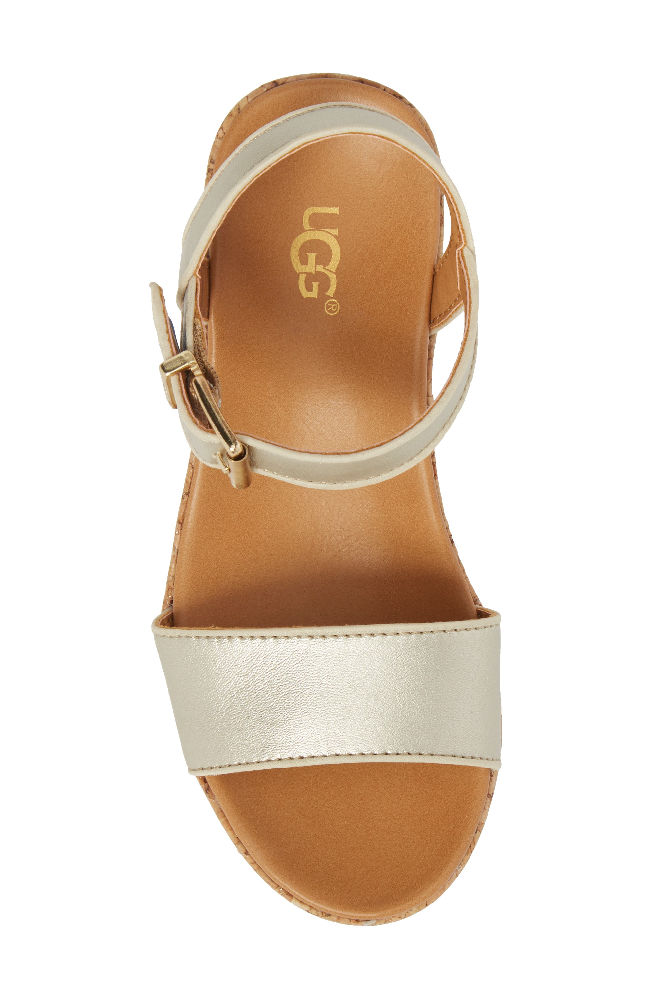 UGG<SUP>®</SUP>, Milley Wedge Sandal, Alternate thumbnail 5, color, GOLD