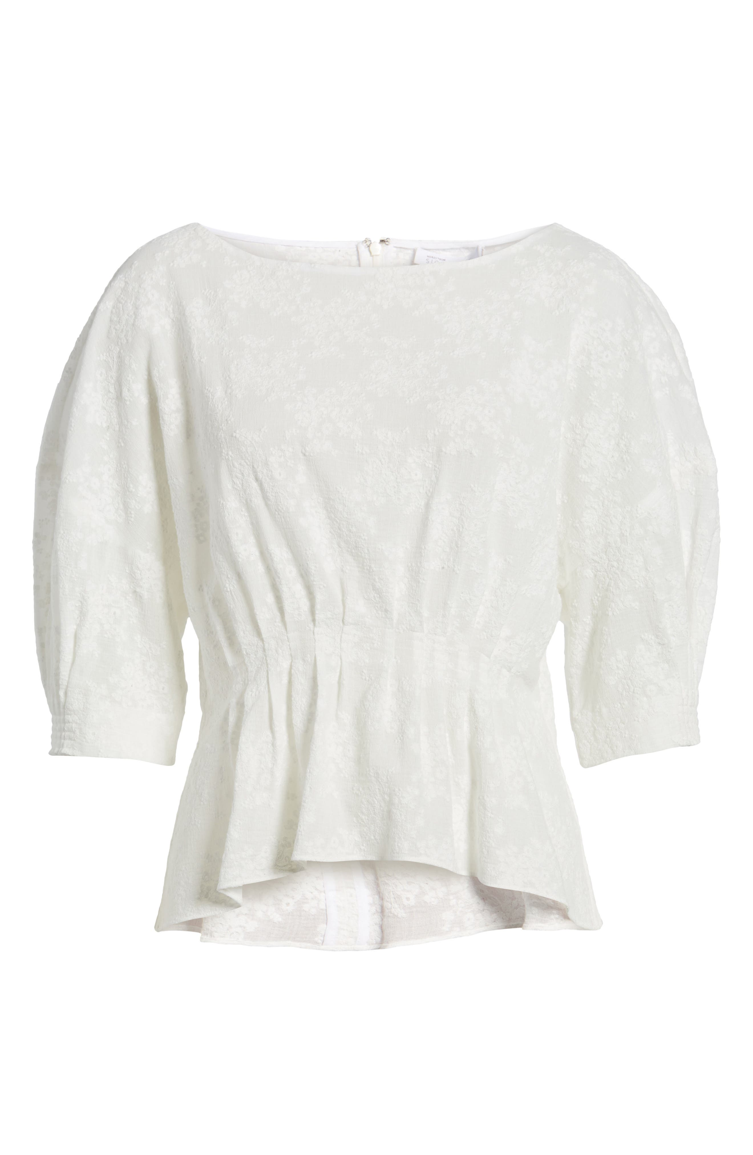 NORDSTROM SIGNATURE, Embroidered Tucked Top, Alternate thumbnail 6, color, 100