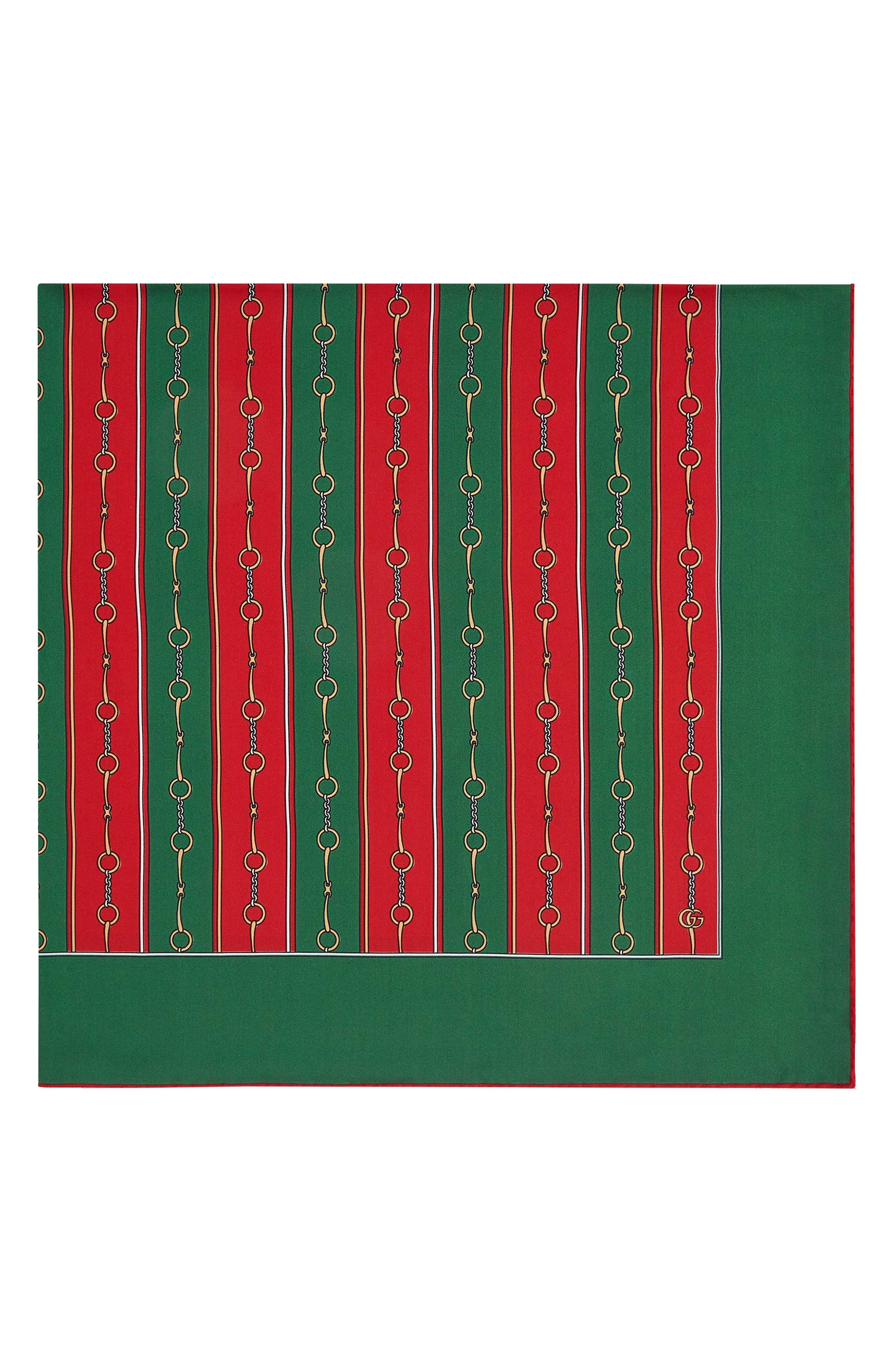 GUCCI, Stripe Horsebit Print Silk Scarf, Alternate thumbnail 3, color, GREEN/ RED