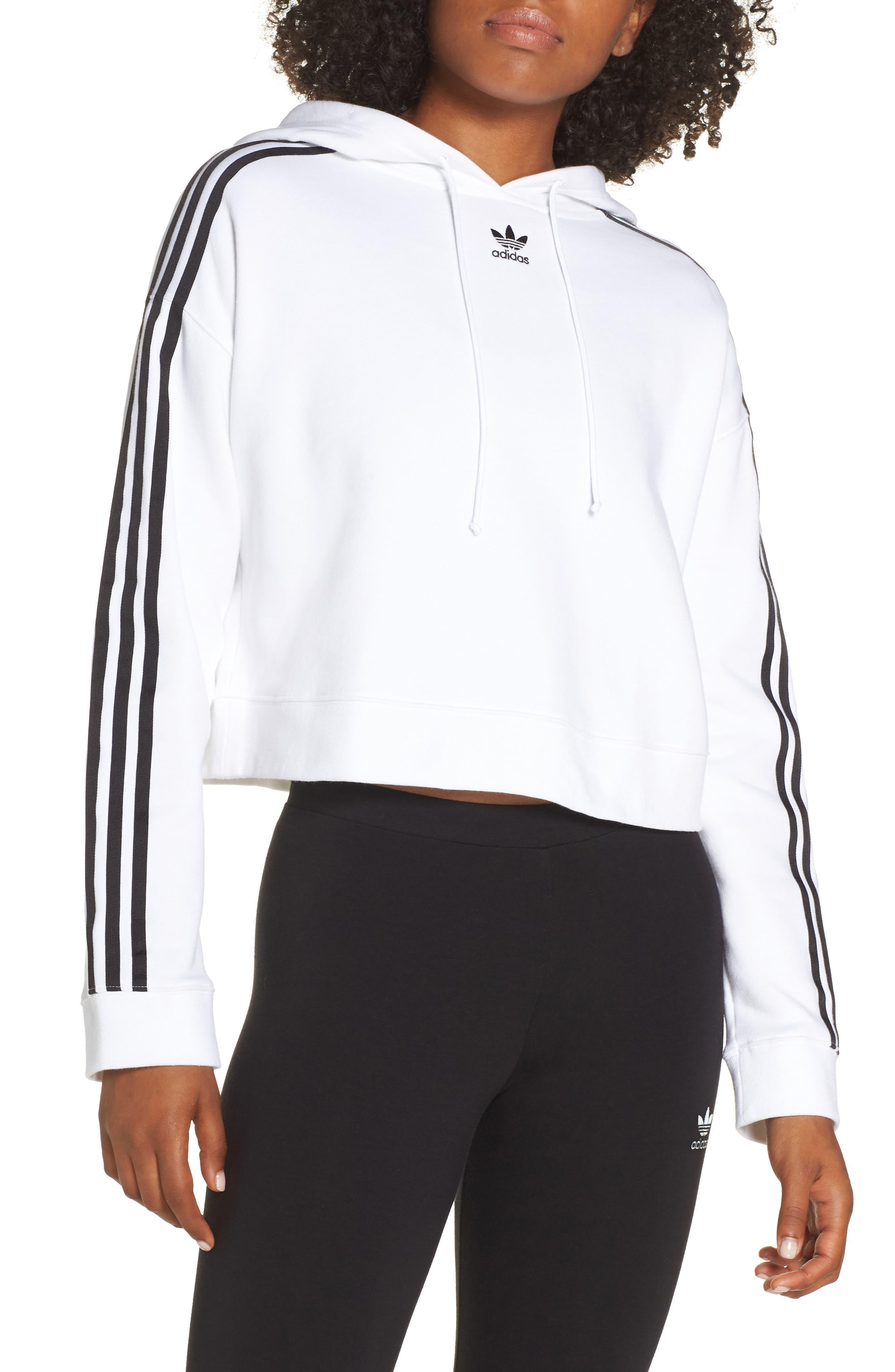 ADIDAS ORIGINALS Cropped Hoodie, Main, color, WHITE