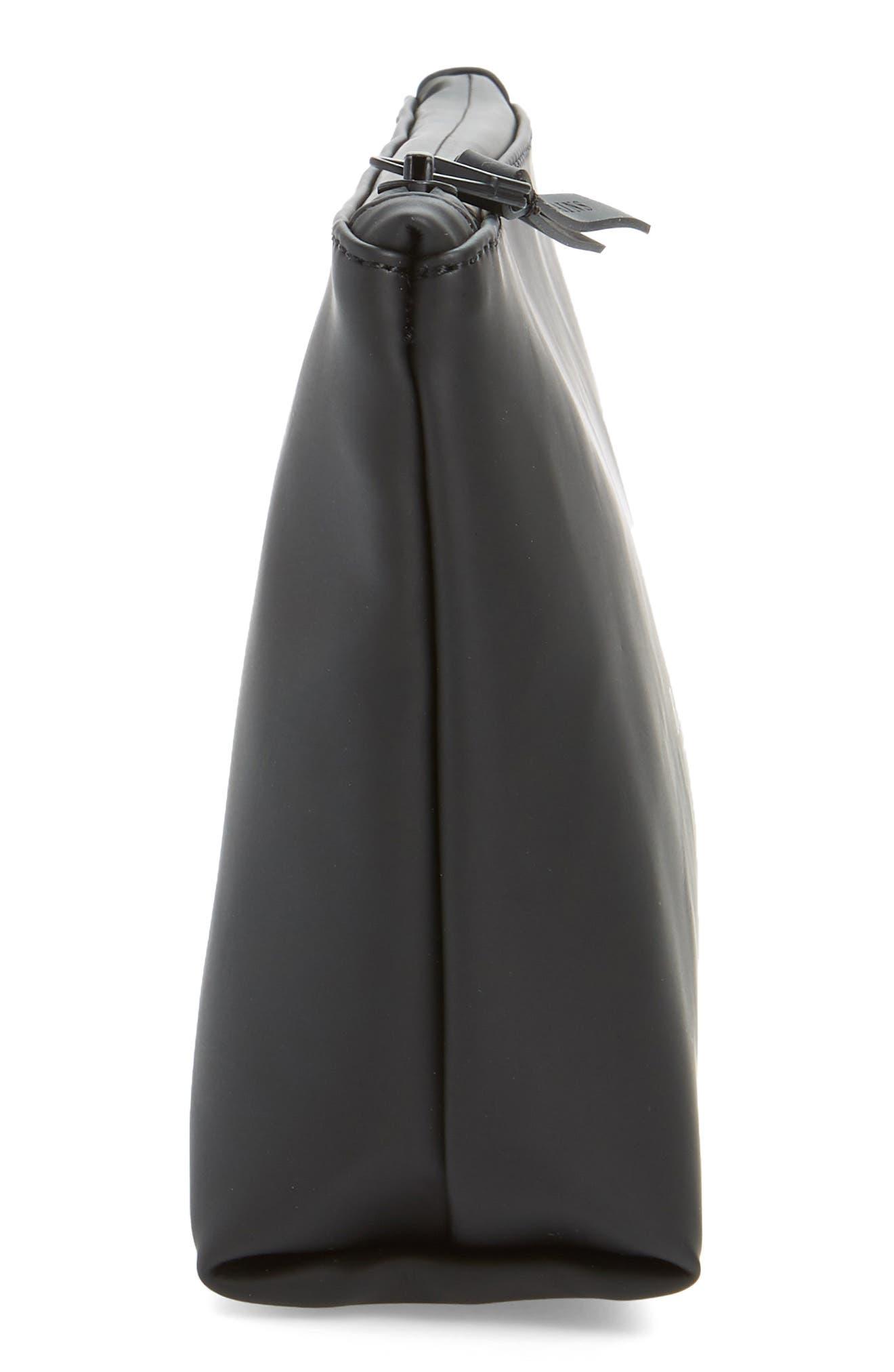 RAINS, Waterproof Cosmetics Bag, Alternate thumbnail 4, color, BLACK