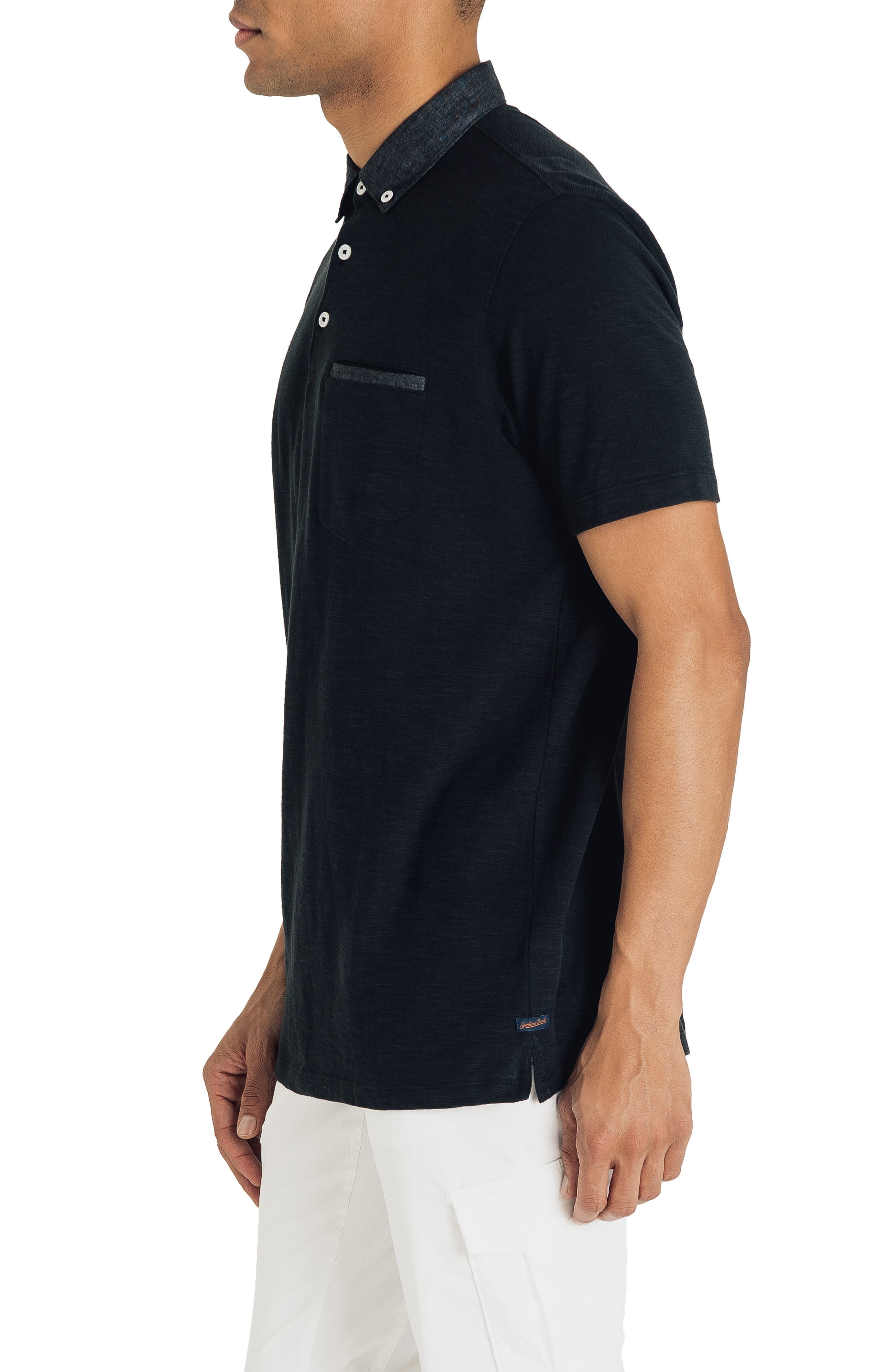 GOOD MAN BRAND, Slub Jersey Cotton Polo Shirt, Alternate thumbnail 3, color, BLACK