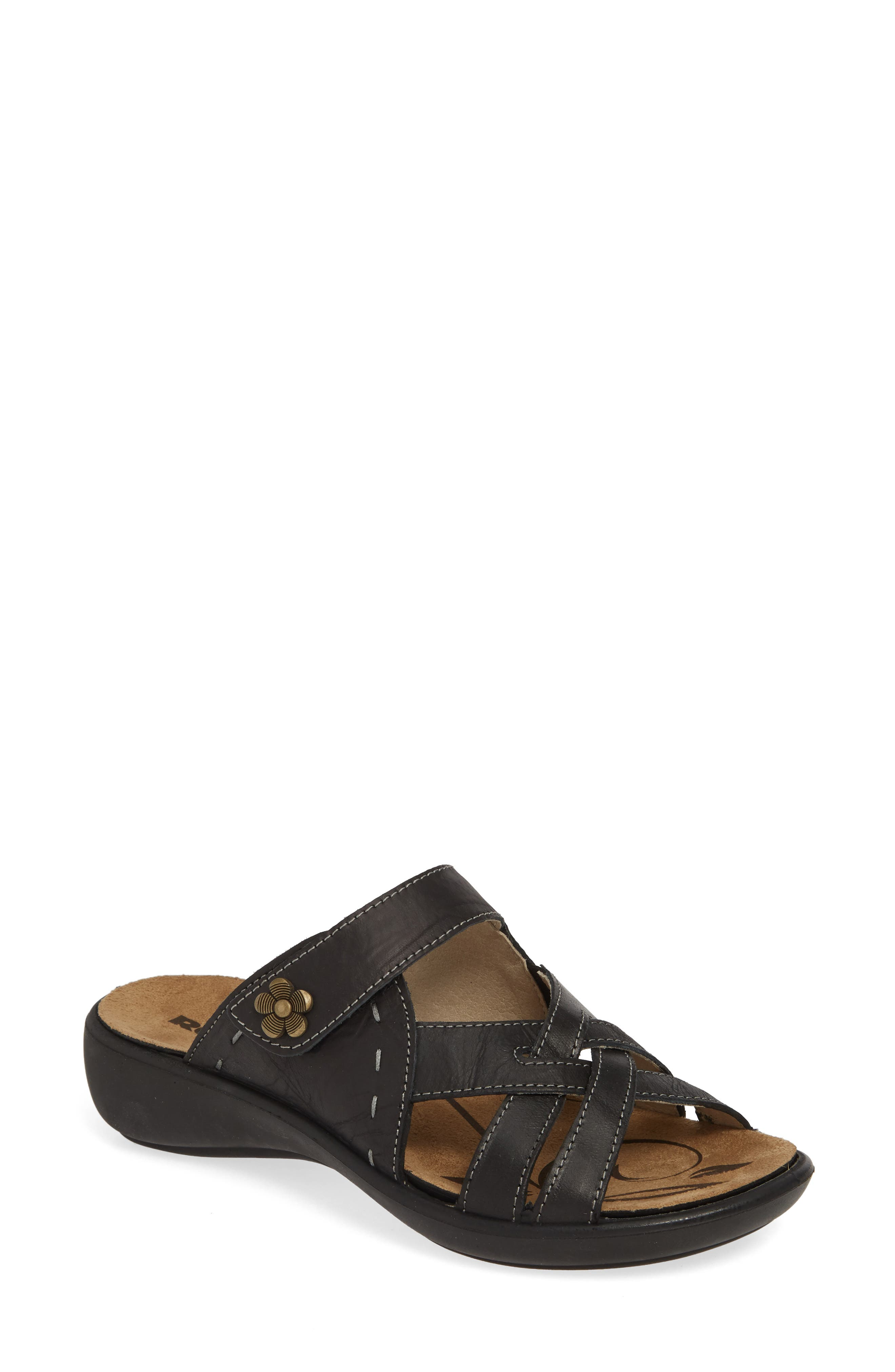 ROMIKA<SUP>®</SUP>, Ibiza 99 Slide Sandal, Main thumbnail 1, color, BLACK LEATHER