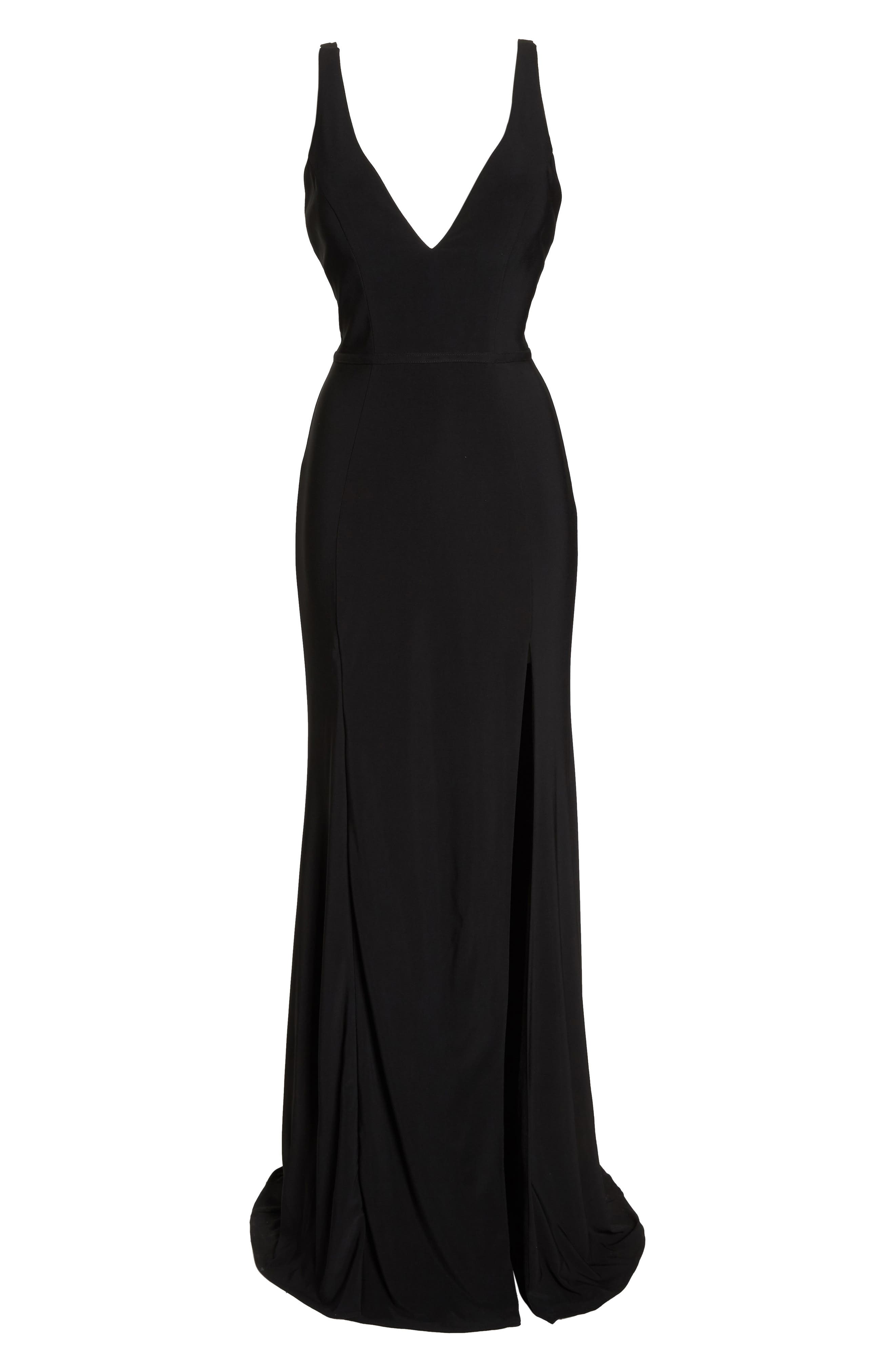 IEENA FOR MAC DUGGAL, Mac Duggal Plunge Neck Slit Jersey Gown, Alternate thumbnail 7, color, BLACK