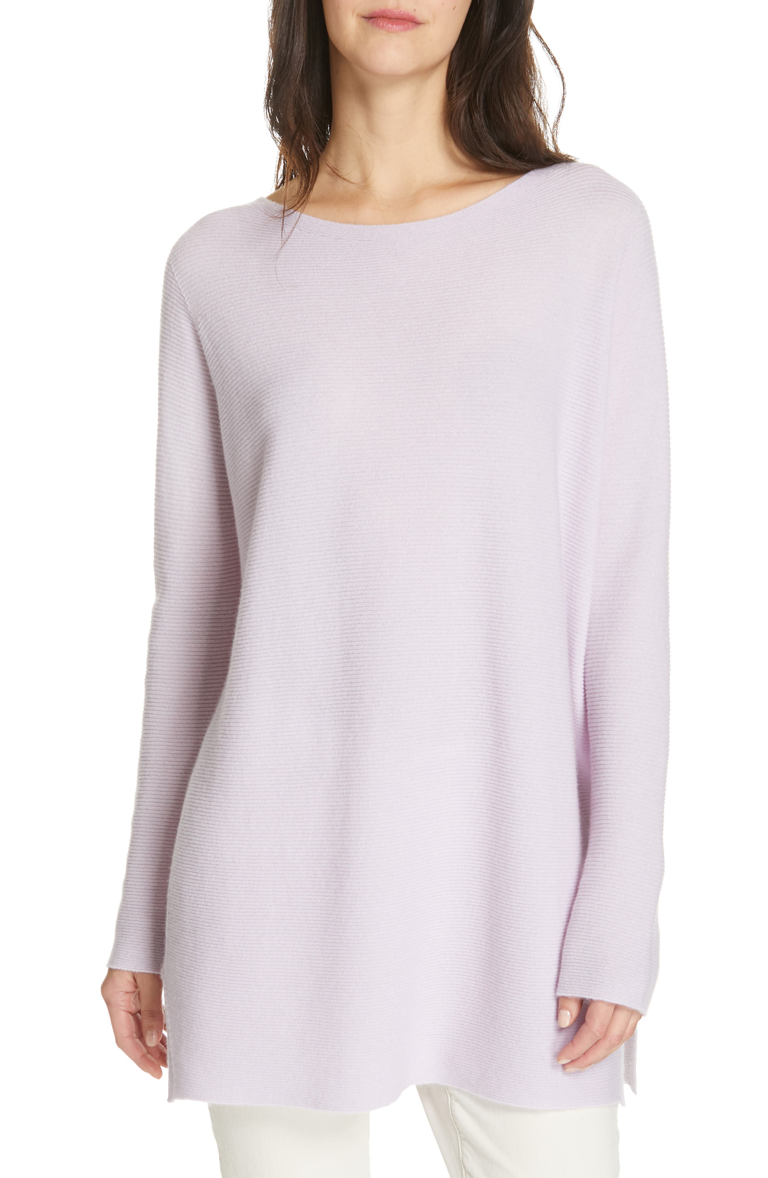 EILEEN FISHER, Bateau Neck Cashmere Tunic Sweater, Main thumbnail 1, color, MALLOW