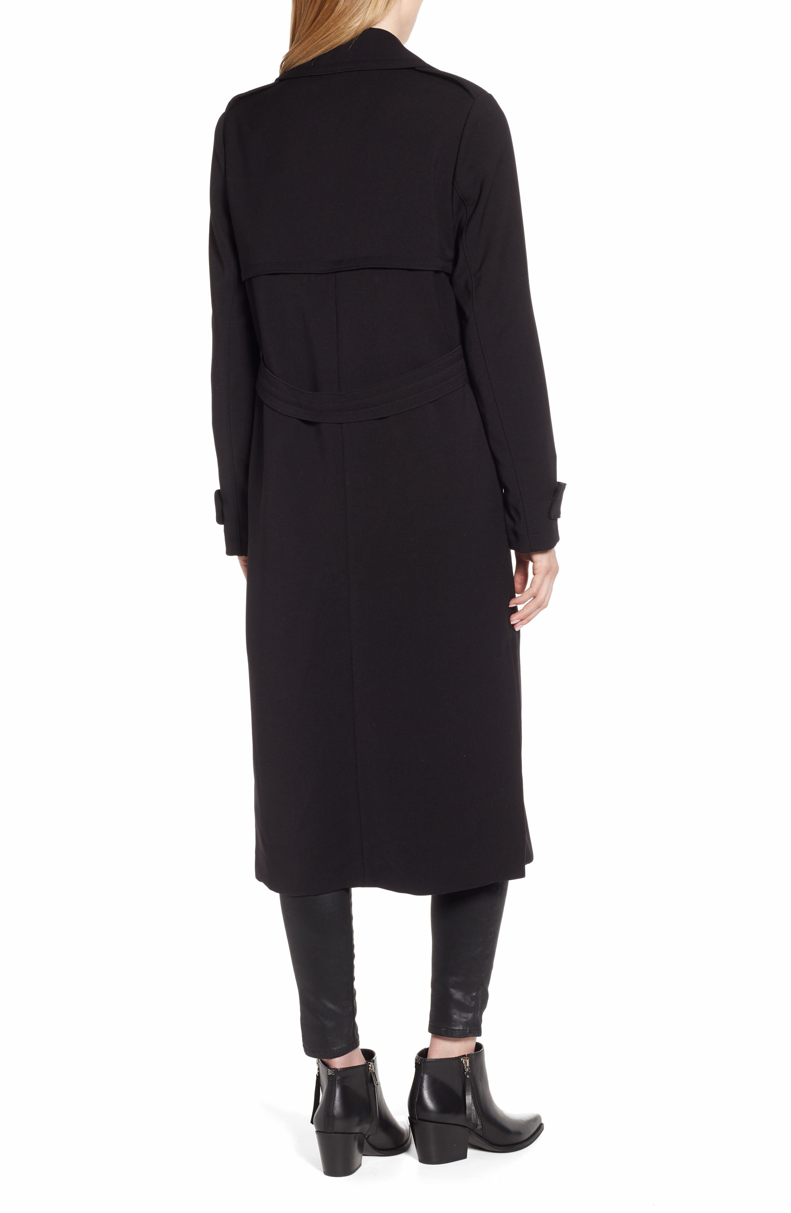 KENNETH COLE NEW YORK, Ponte Trench Coat, Alternate thumbnail 2, color, BLACK