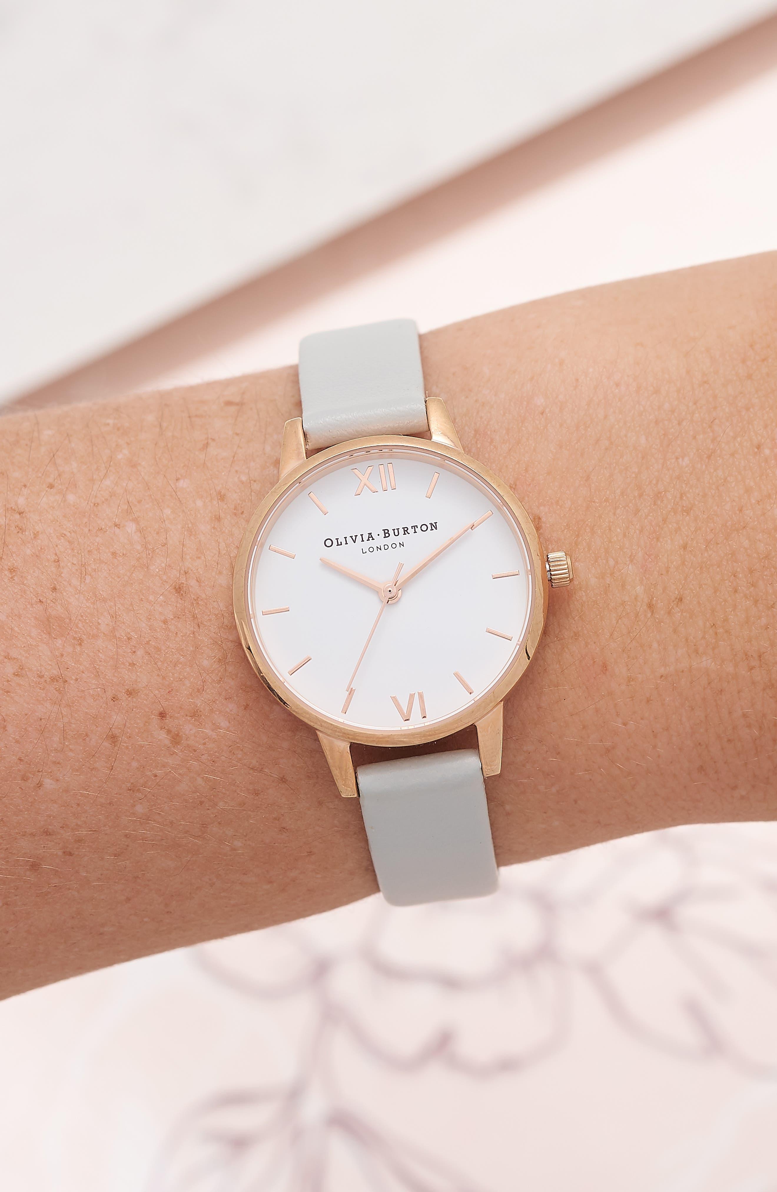 OLIVIA BURTON, Midi Dial Leather Strap Watch, 30mm, Alternate thumbnail 2, color, GREY/ WHITE/ ROSE GOLD