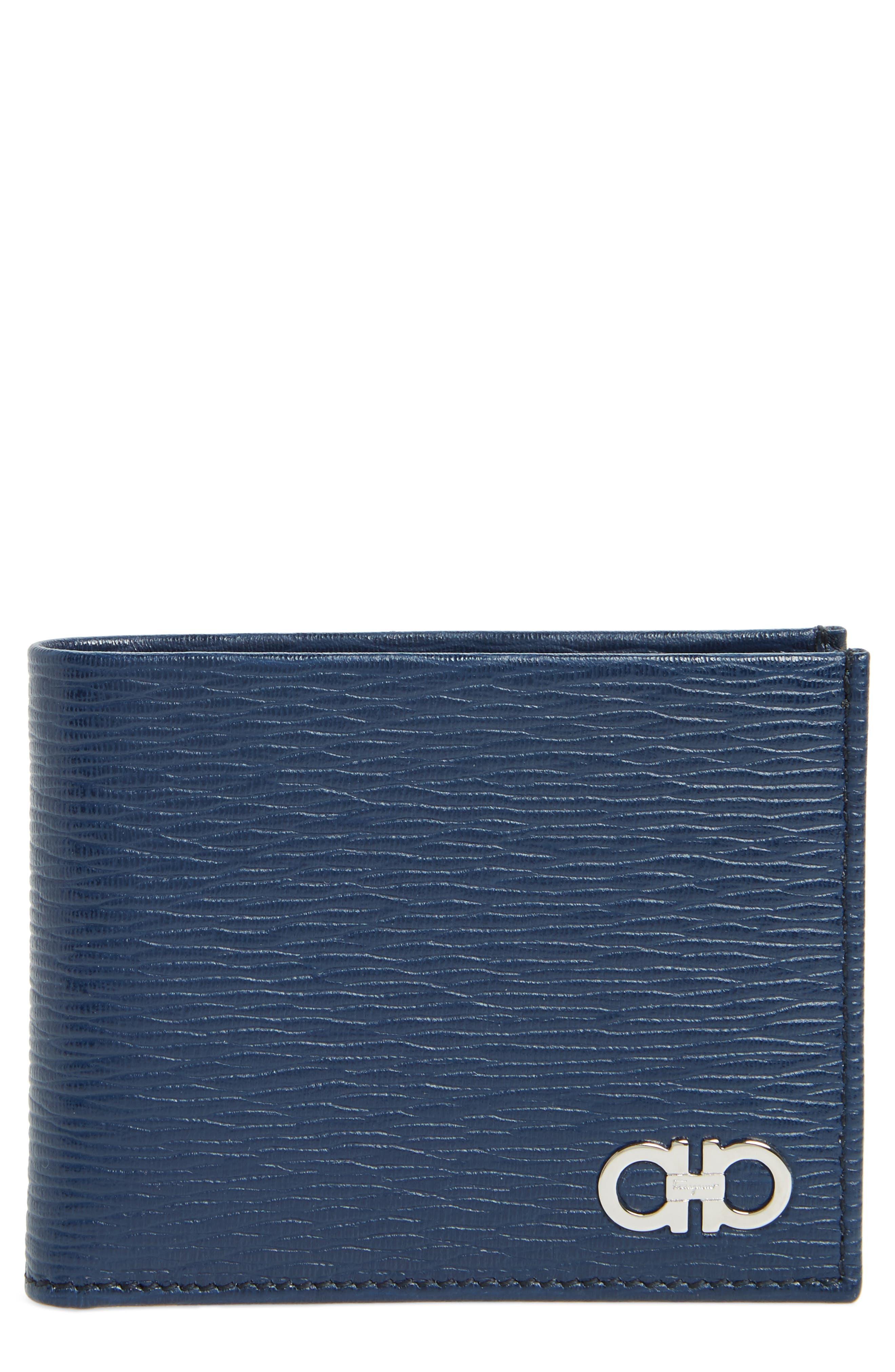 SALVATORE FERRAGAMO, Revival Bifold Leather Wallet, Main thumbnail 1, color, BLUE