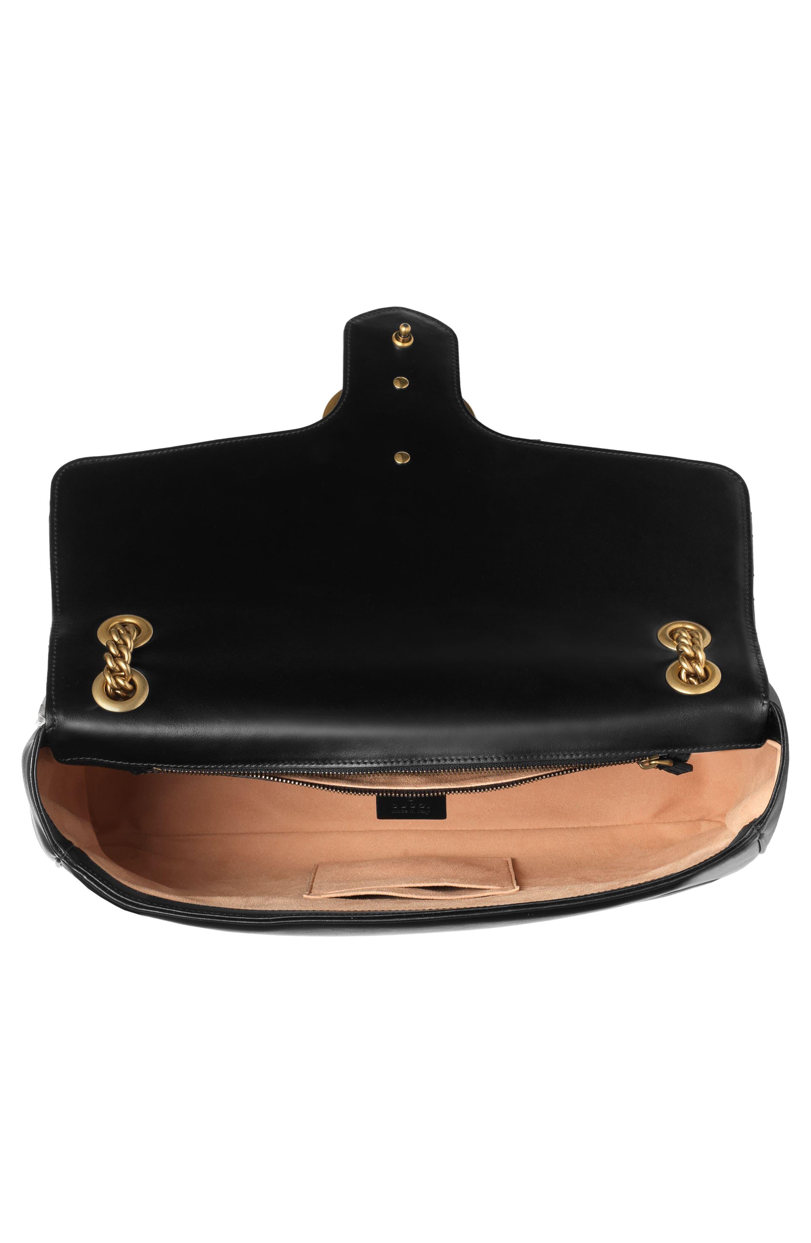GUCCI, GG Large Marmont 2.0 Matelassé Leather Shoulder Bag, Alternate thumbnail 4, color, NERO