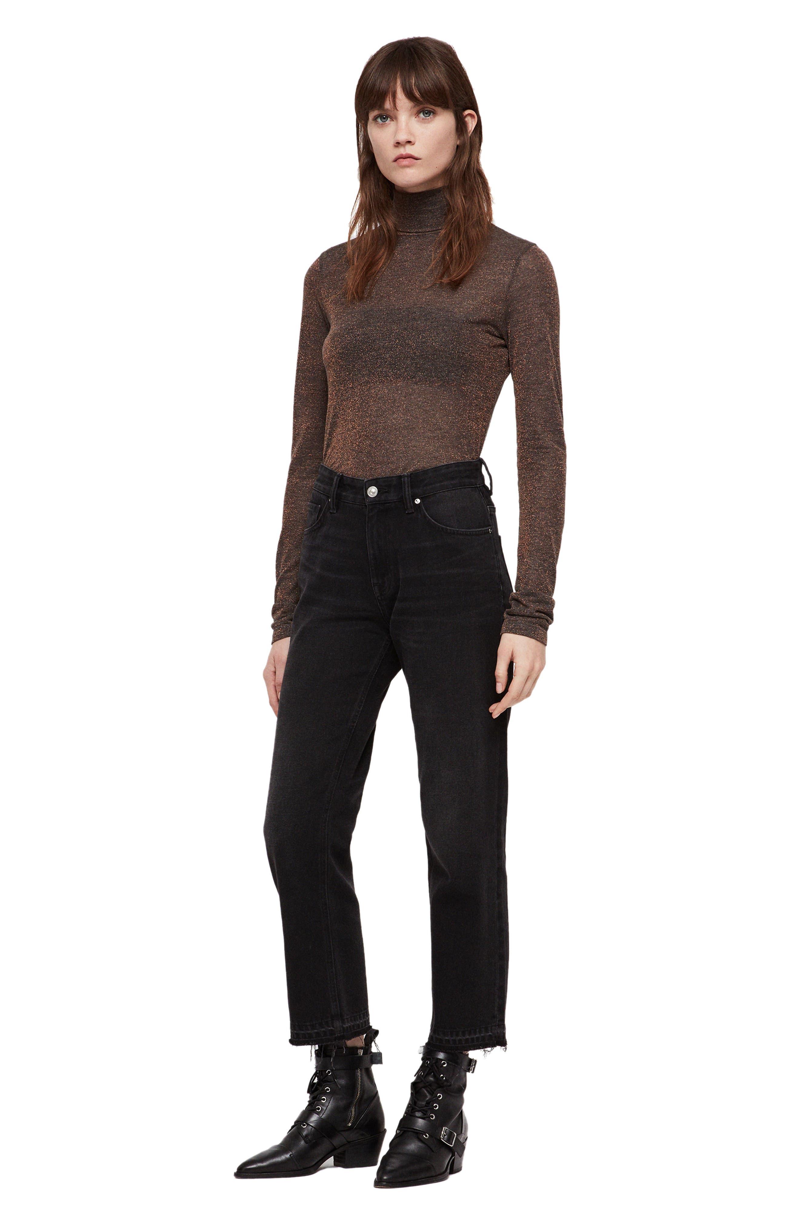ALLSAINTS, Esme Turtleneck Sweater, Alternate thumbnail 4, color, BLACK