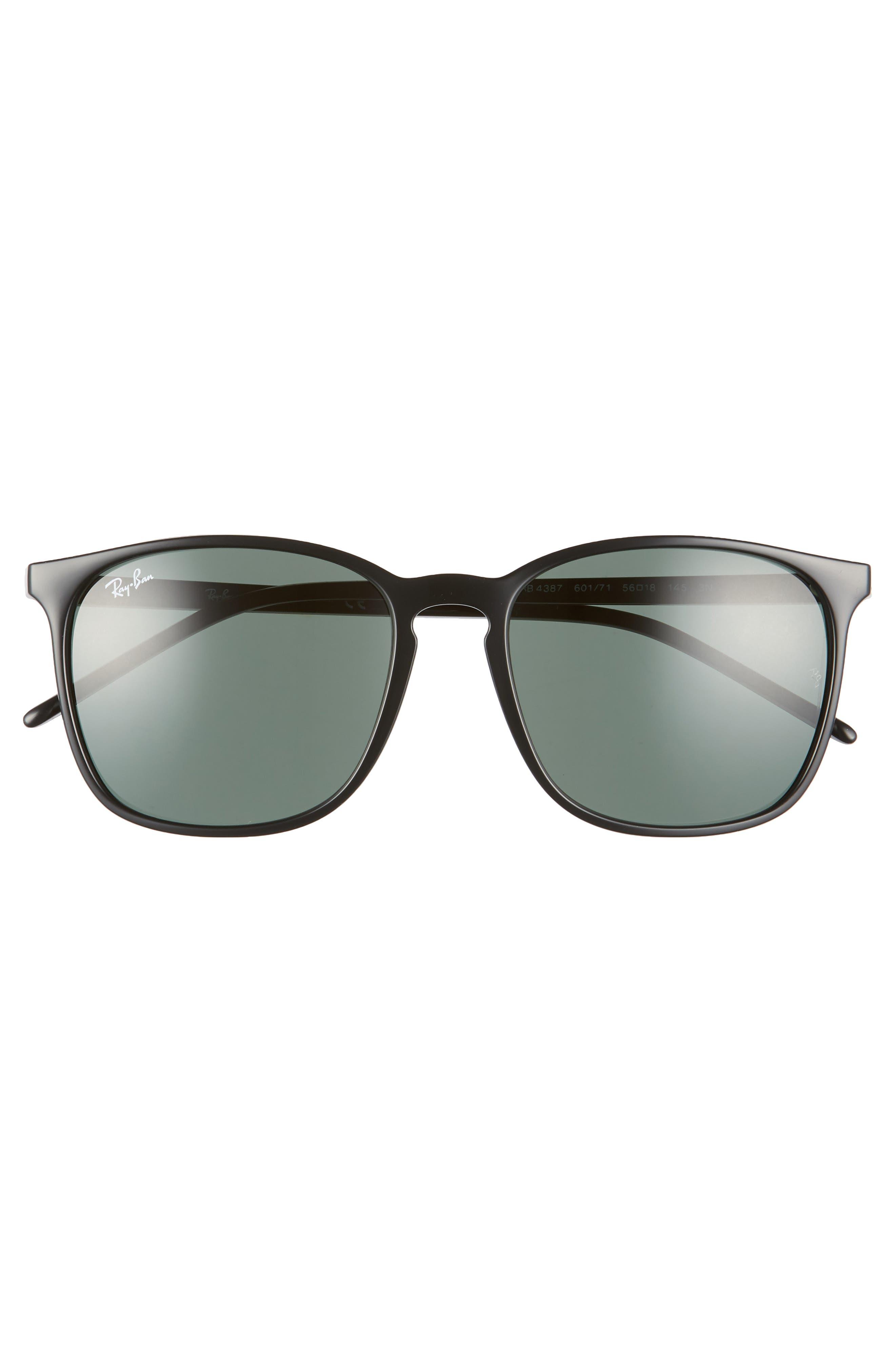 RAY-BAN, 56mm Sunglasses, Alternate thumbnail 3, color, BLACK/ GREEN SOLID