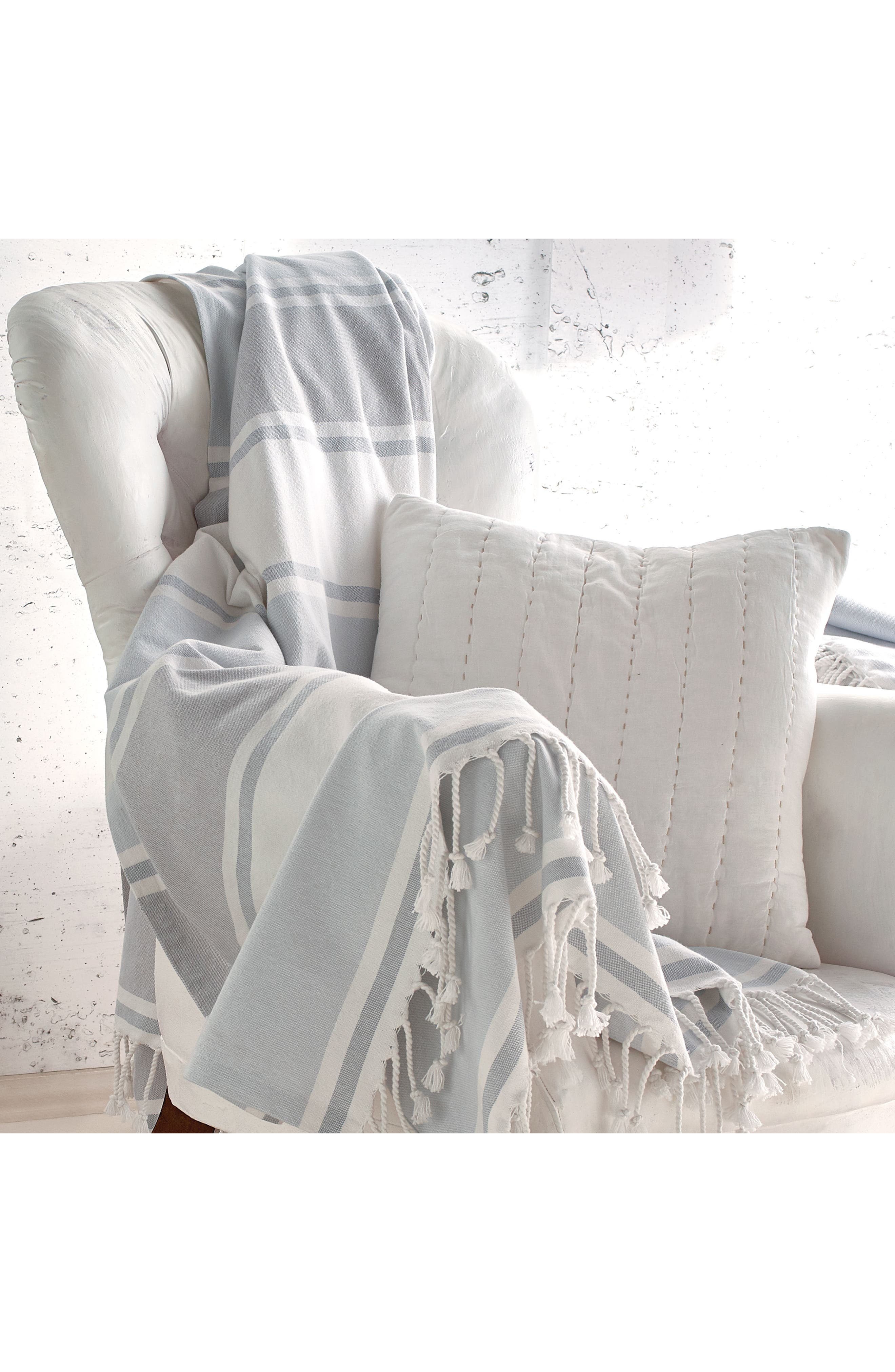 DKNY, Donna Karan New York Pure Stripe Blanket, Alternate thumbnail 4, color, BLUE