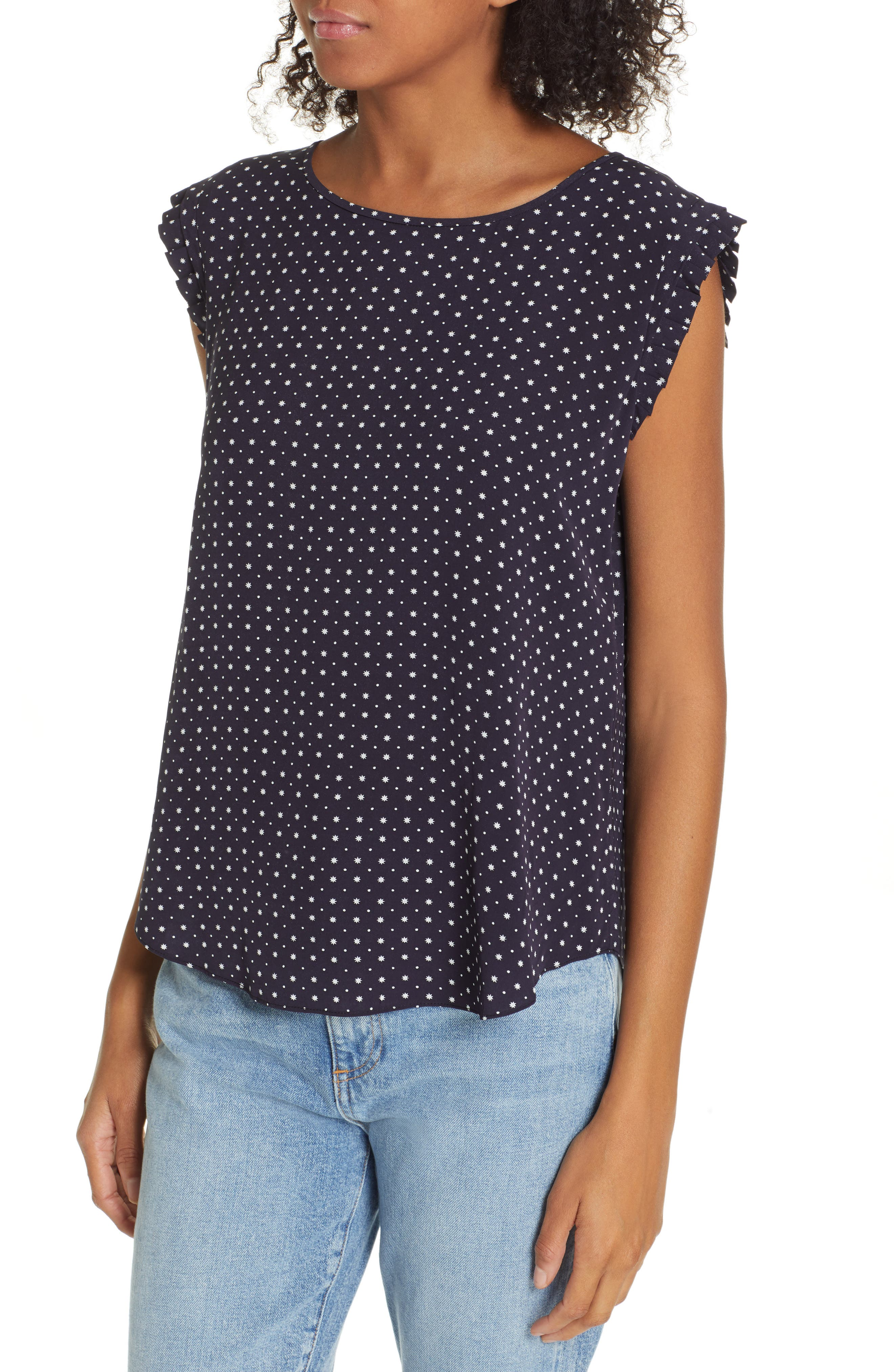 JOIE, Laurelle Print Woven Top, Alternate thumbnail 4, color, 410