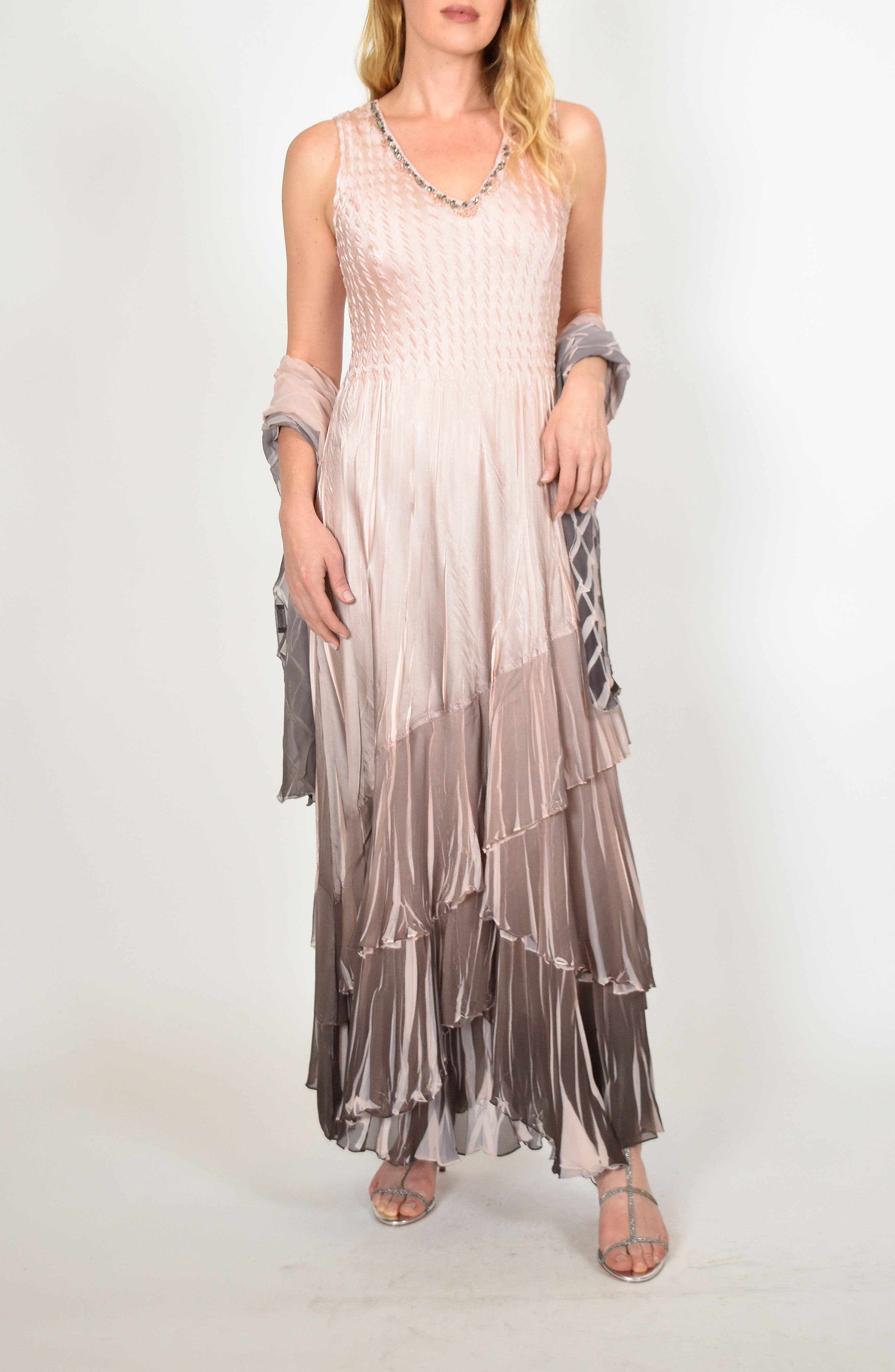 KOMAROV, Layered Maxi Dress with Wrap, Main thumbnail 1, color, VINTAGE ROSE CAFE OMBRE