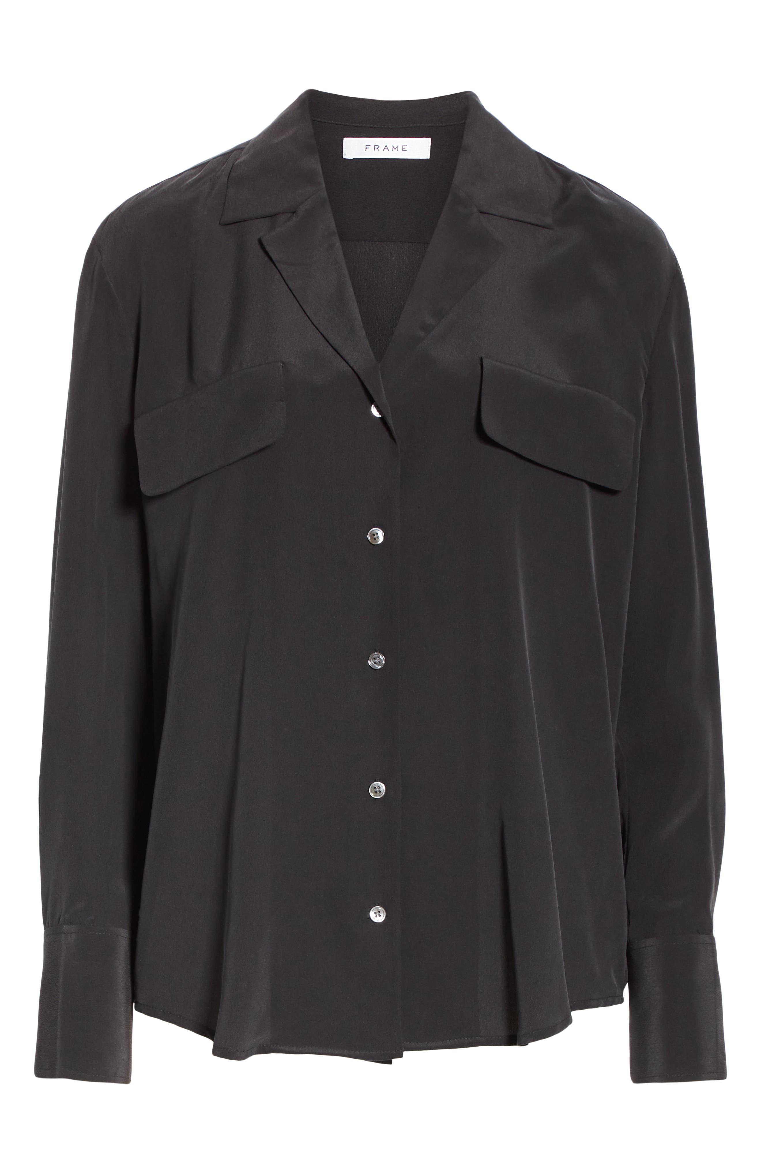 FRAME, Pocket Silk Blouse, Alternate thumbnail 6, color, BLACK