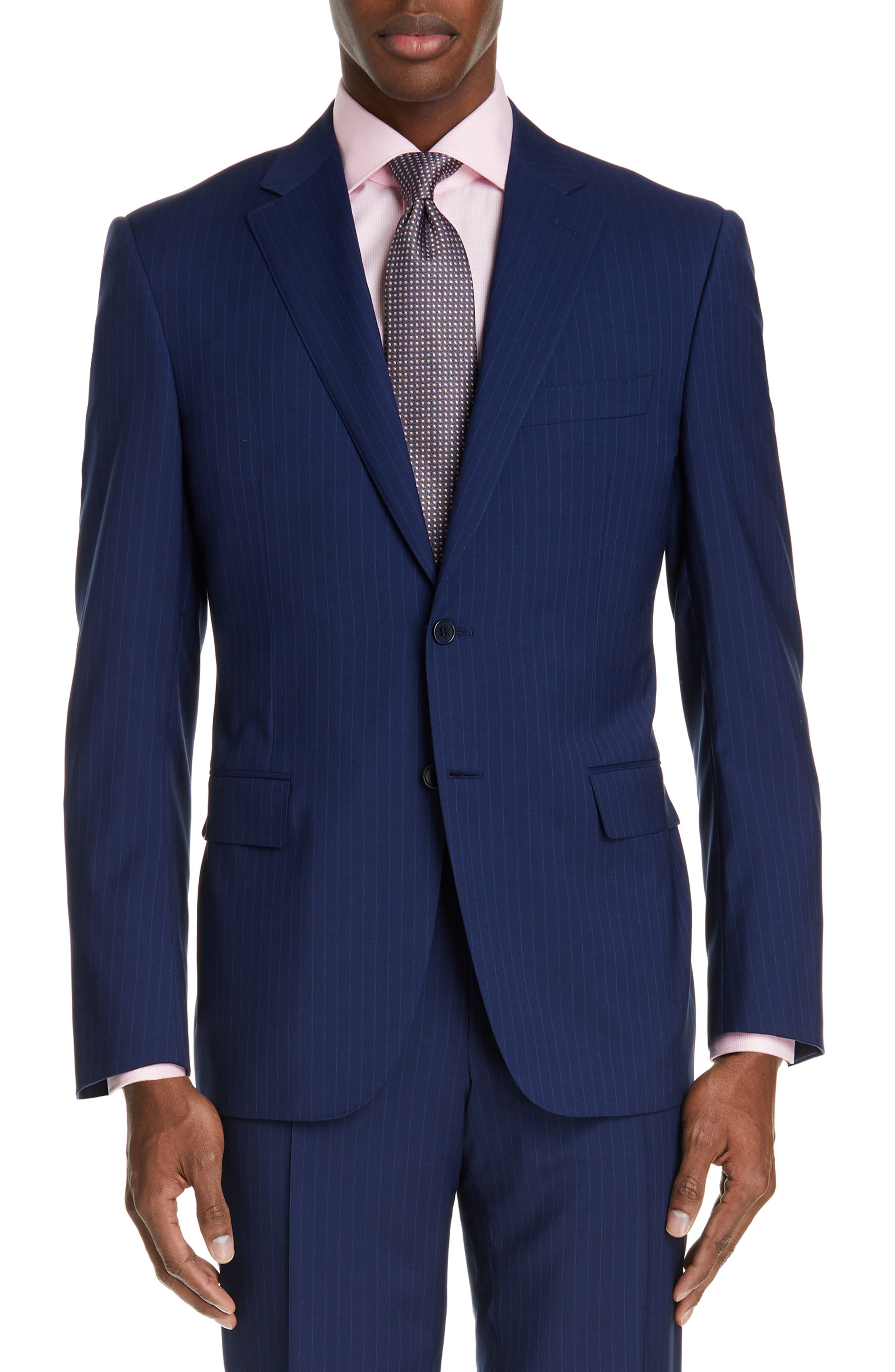 CANALI, Sienna Classic Fit Stripe Wool Suit, Alternate thumbnail 5, color, BLUE