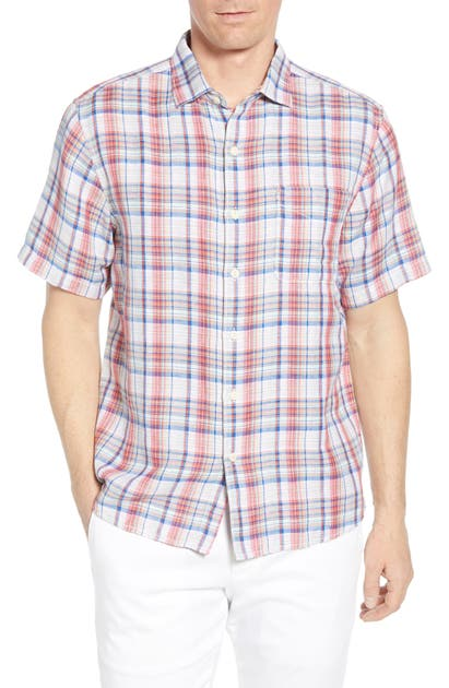 Tommy Bahama T-shirts THE SWITCH UP CLASSIC FIT PLAID SHORT SLEEVE LINEN BLEND BUTTON-UP SPORT SHIRT
