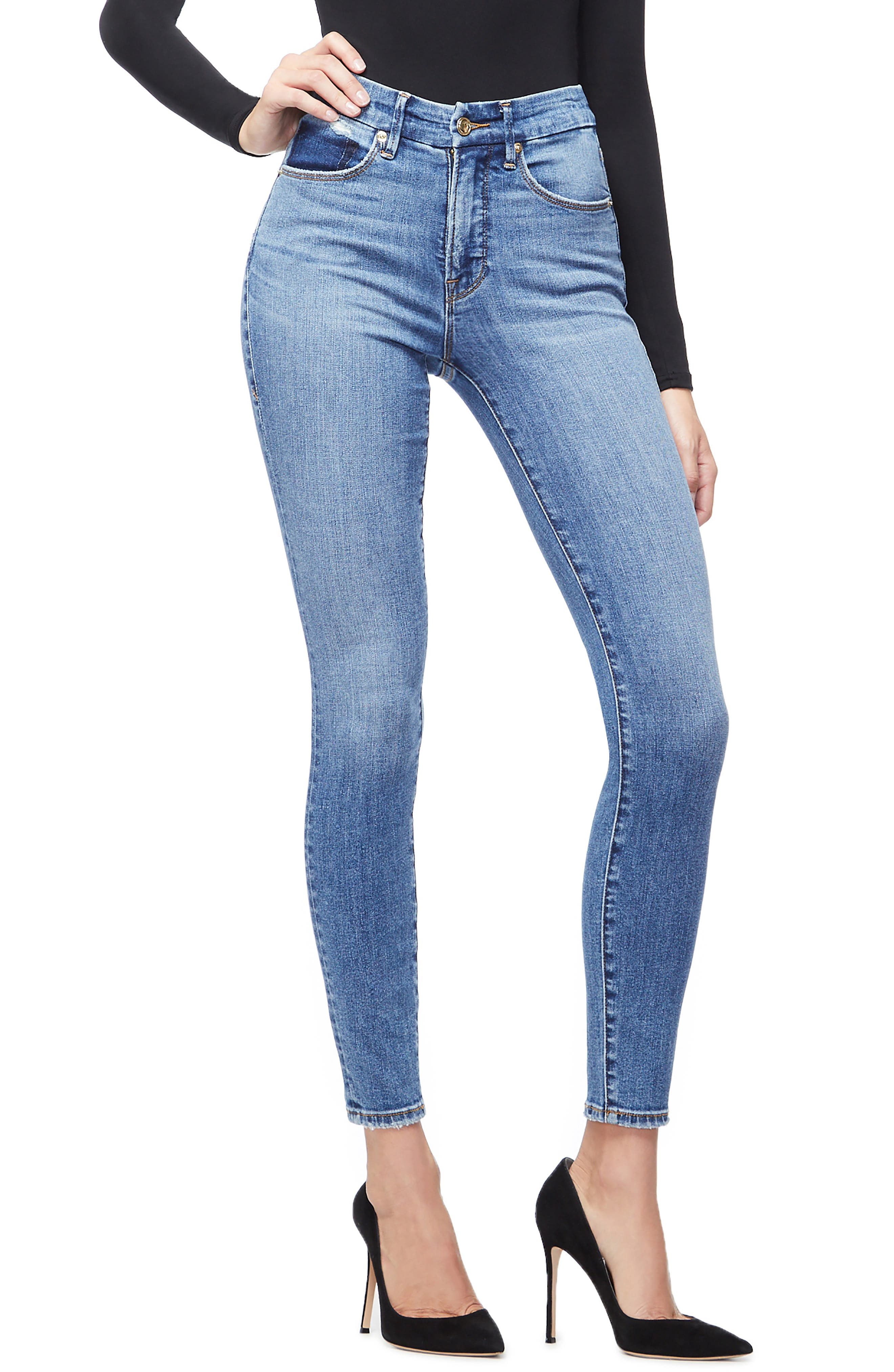 GOOD AMERICAN, Good Waist High Waist Skinny Jeans, Main thumbnail 1, color, BLUE213