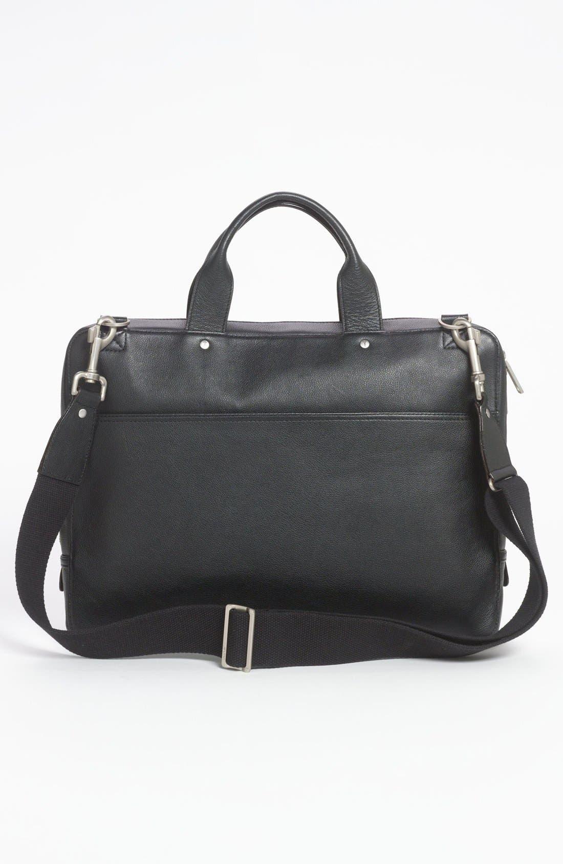 JACK SPADE, Slim Leather Briefcase, Alternate thumbnail 4, color, 001