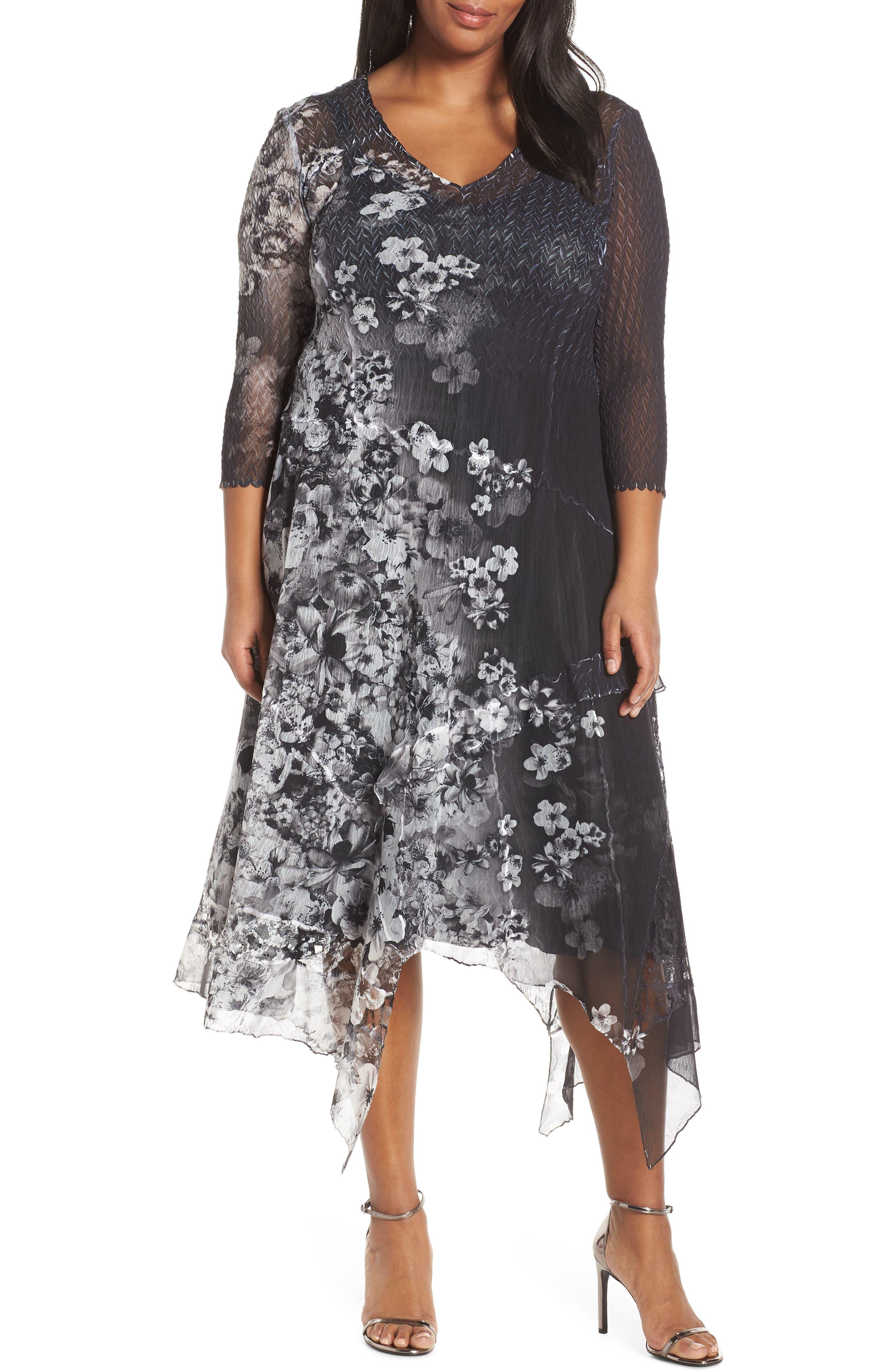 KOMAROV, Handkerchief Hem Cocktail Dress, Main thumbnail 1, color, MOONLIGHT BLOOM