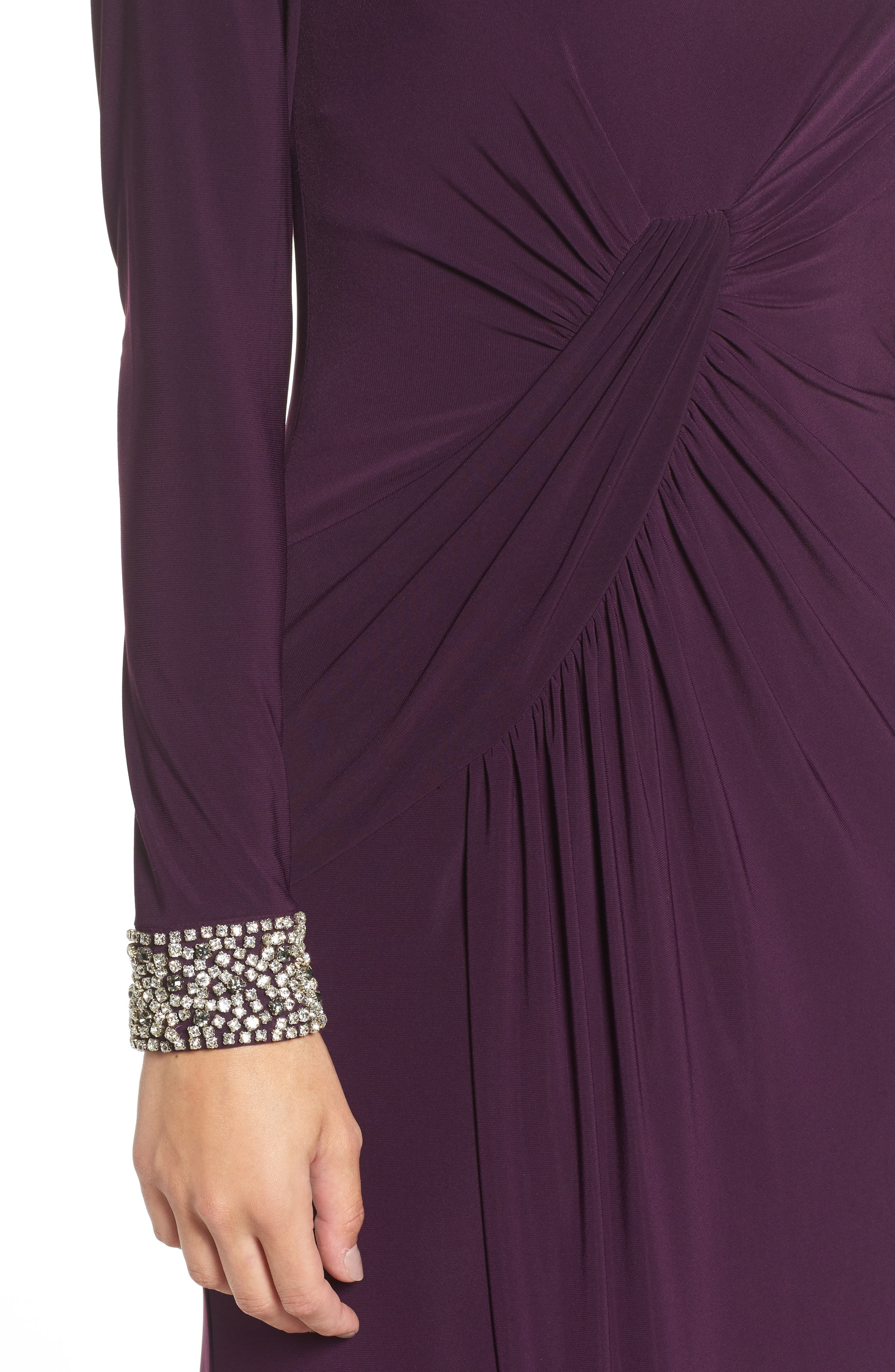 VINCE CAMUTO, Beaded Cuff Ruched Jersey Gown, Alternate thumbnail 4, color, 505