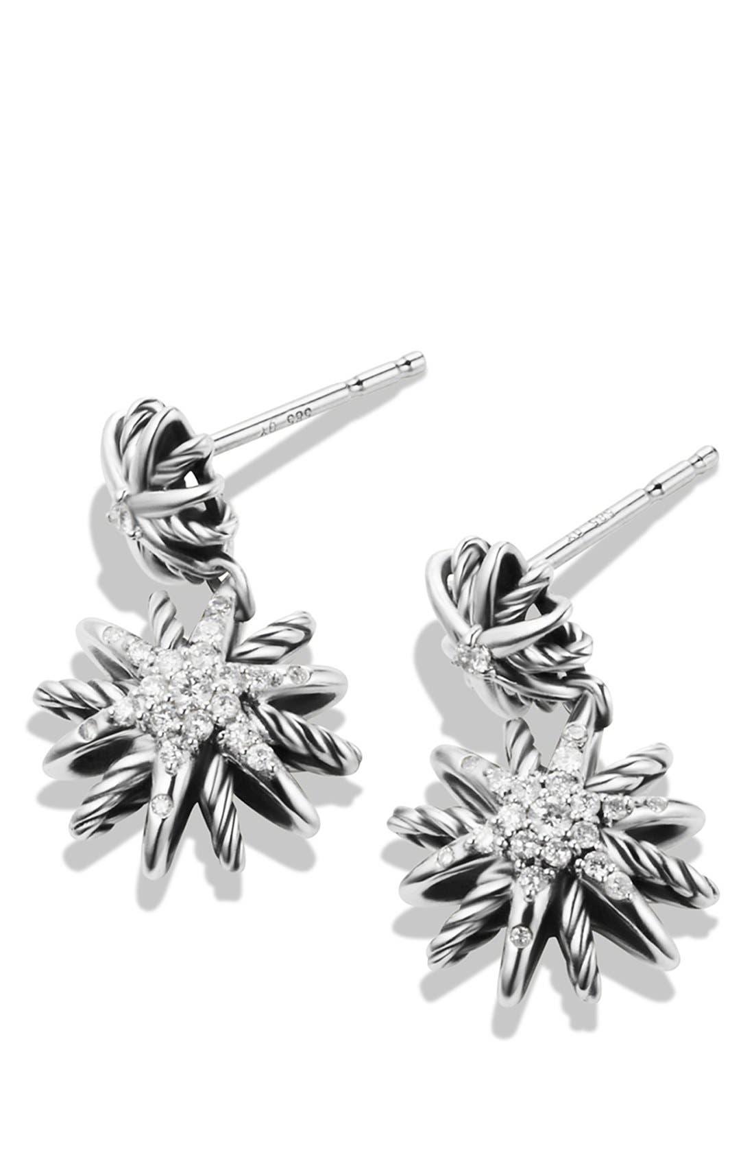 DAVID YURMAN, 'Starburst' Double-Drop Earrings with Diamonds, Alternate thumbnail 3, color, DIAMOND