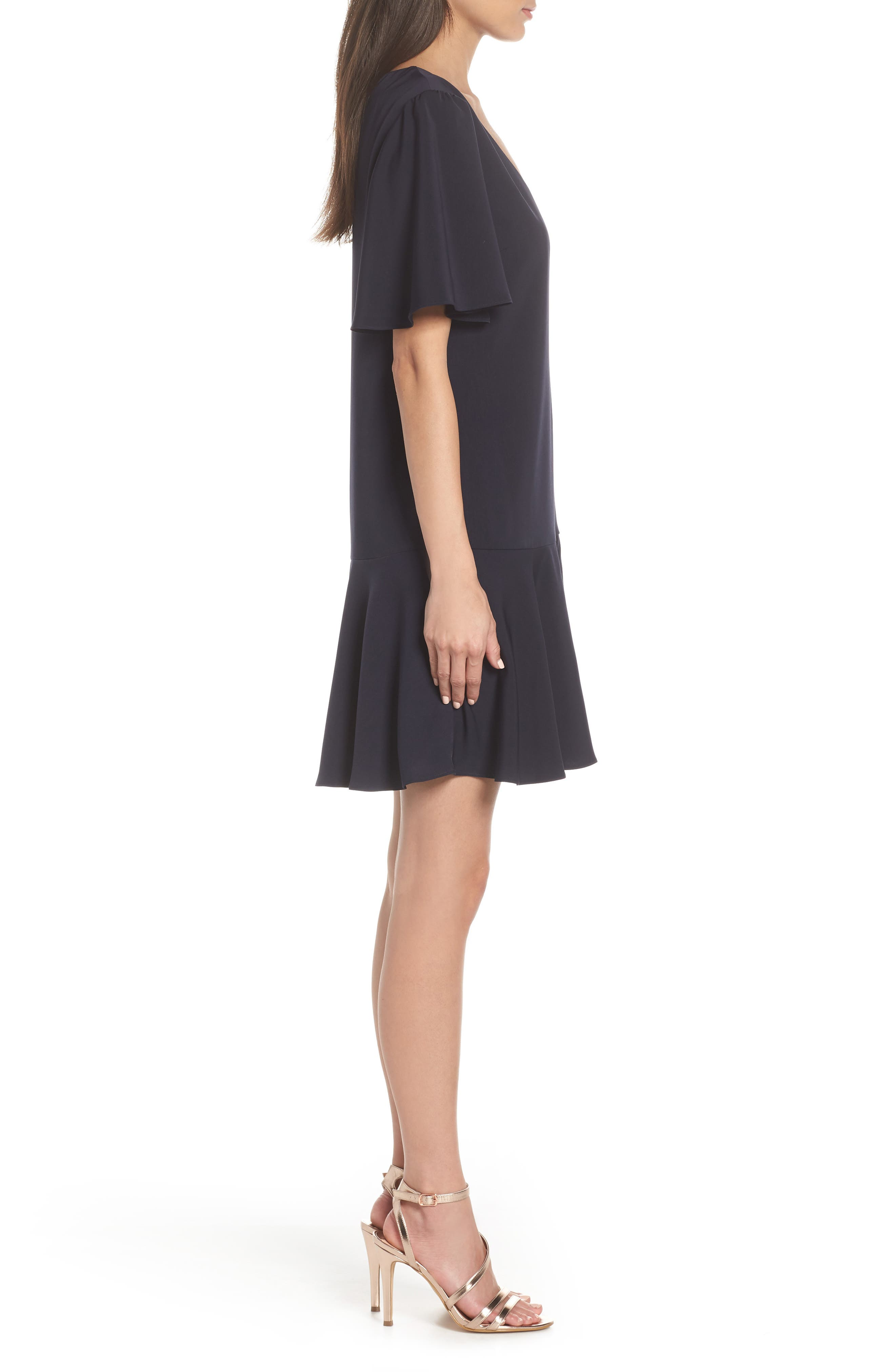 CHARLES HENRY, Flutter Sleeve Shift Dress, Alternate thumbnail 4, color, NAVY