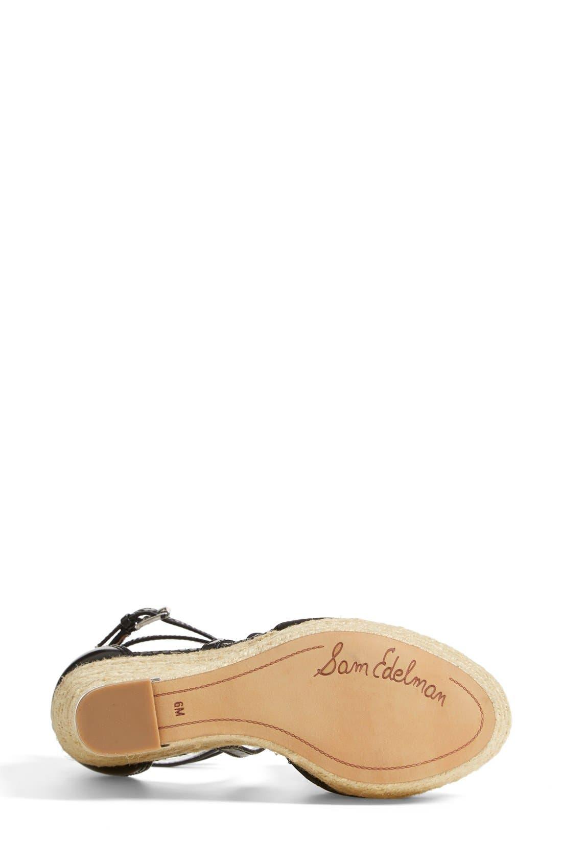 SAM EDELMAN, 'Turner' Espadrille Wedge Sandal, Alternate thumbnail 2, color, 001