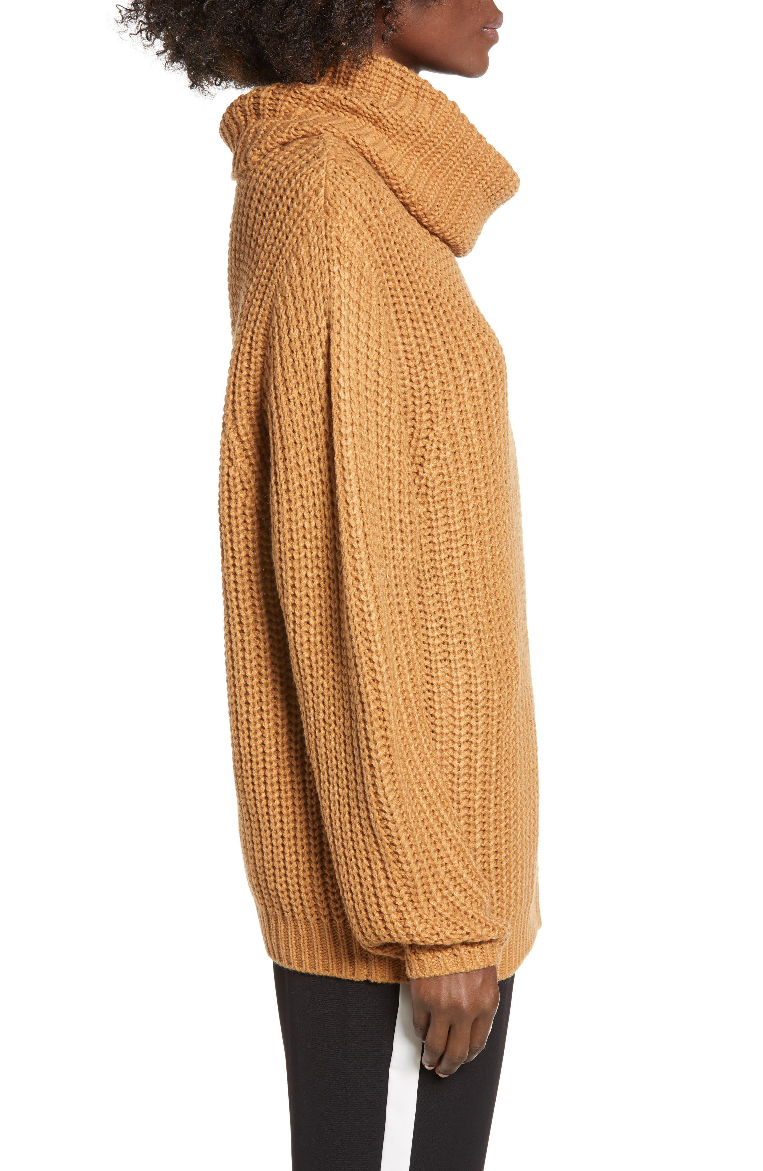 LEITH, Oversize Turtleneck Sweater, Alternate thumbnail 3, color, 235
