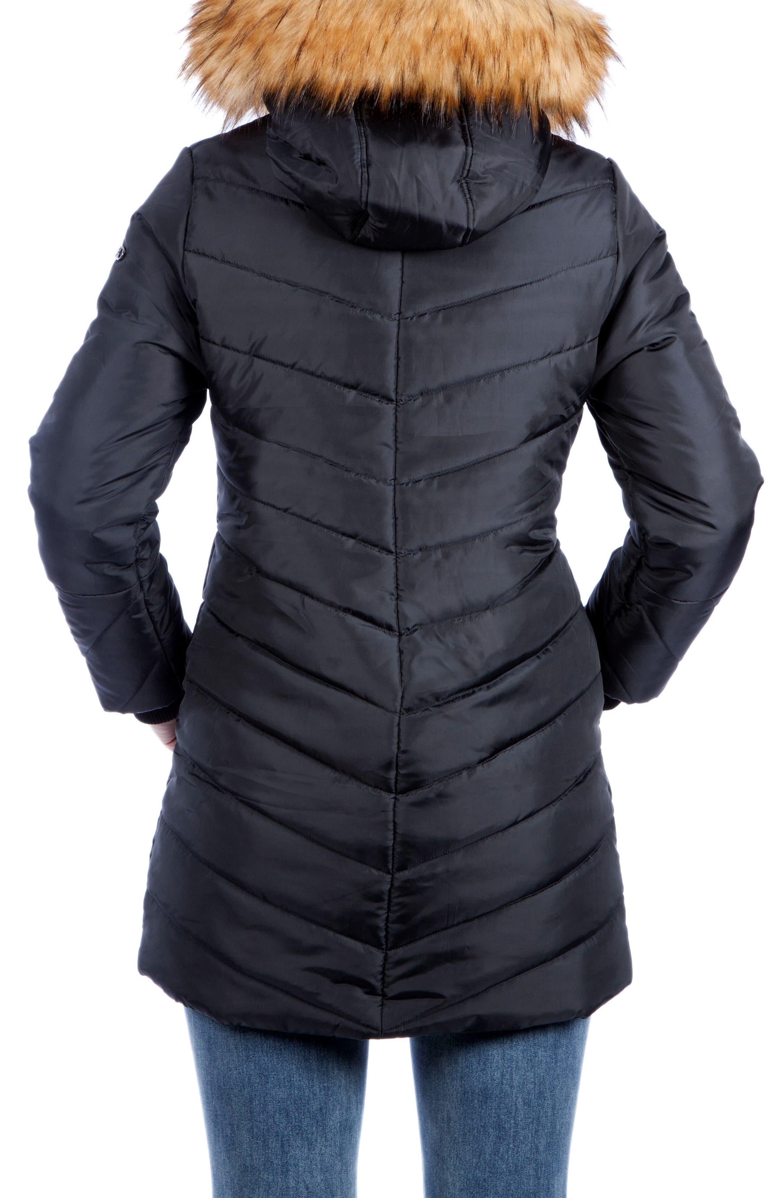 MODERN ETERNITY, Faux Fur Trim Convertible Puffer 3-in-1 Maternity Jacket, Alternate thumbnail 3, color, BLACK