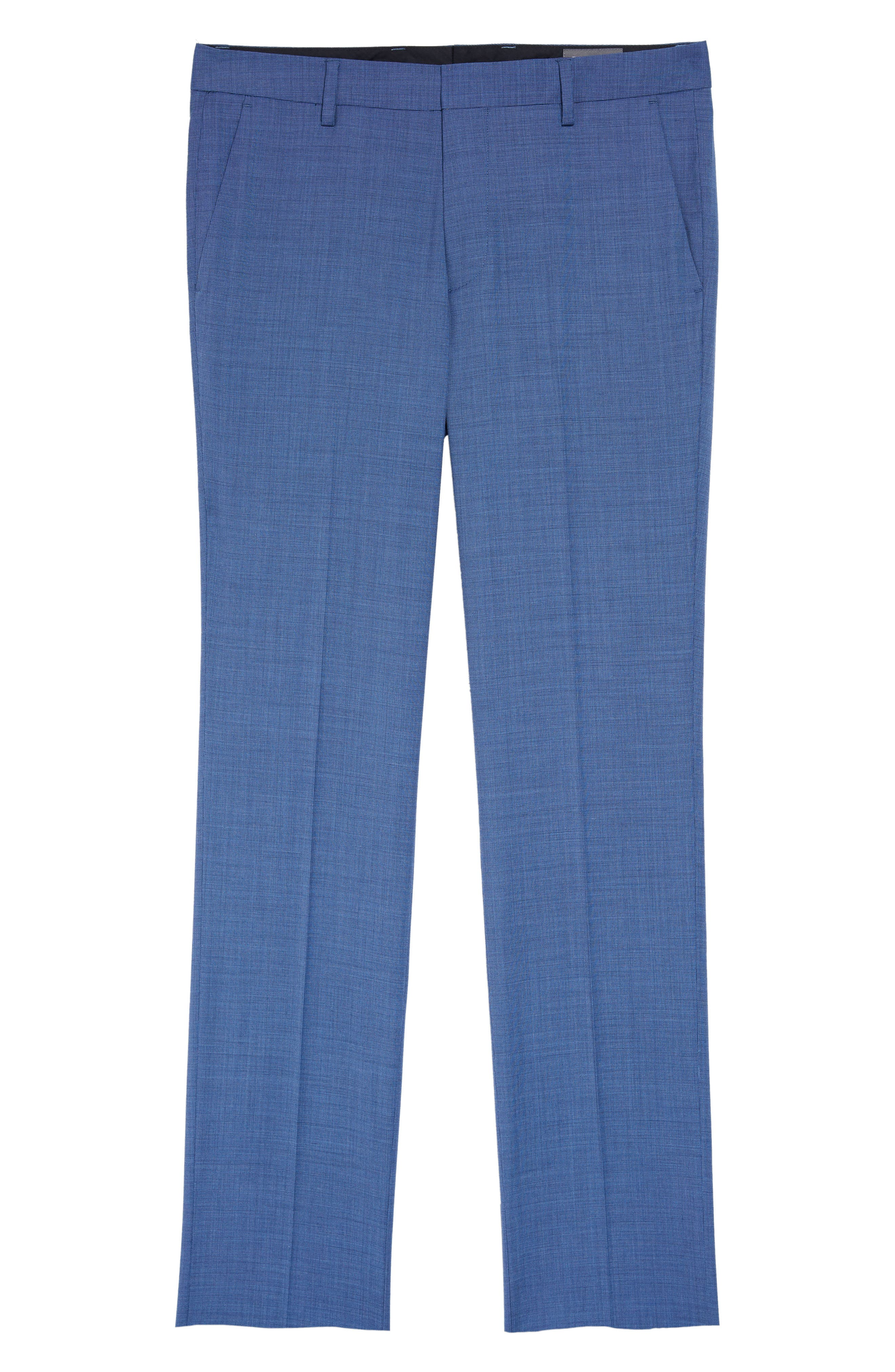 BONOBOS, Jetsetter Flat Front Solid Stretch Wool Trousers, Alternate thumbnail 3, color, BRIGHTER BLUE