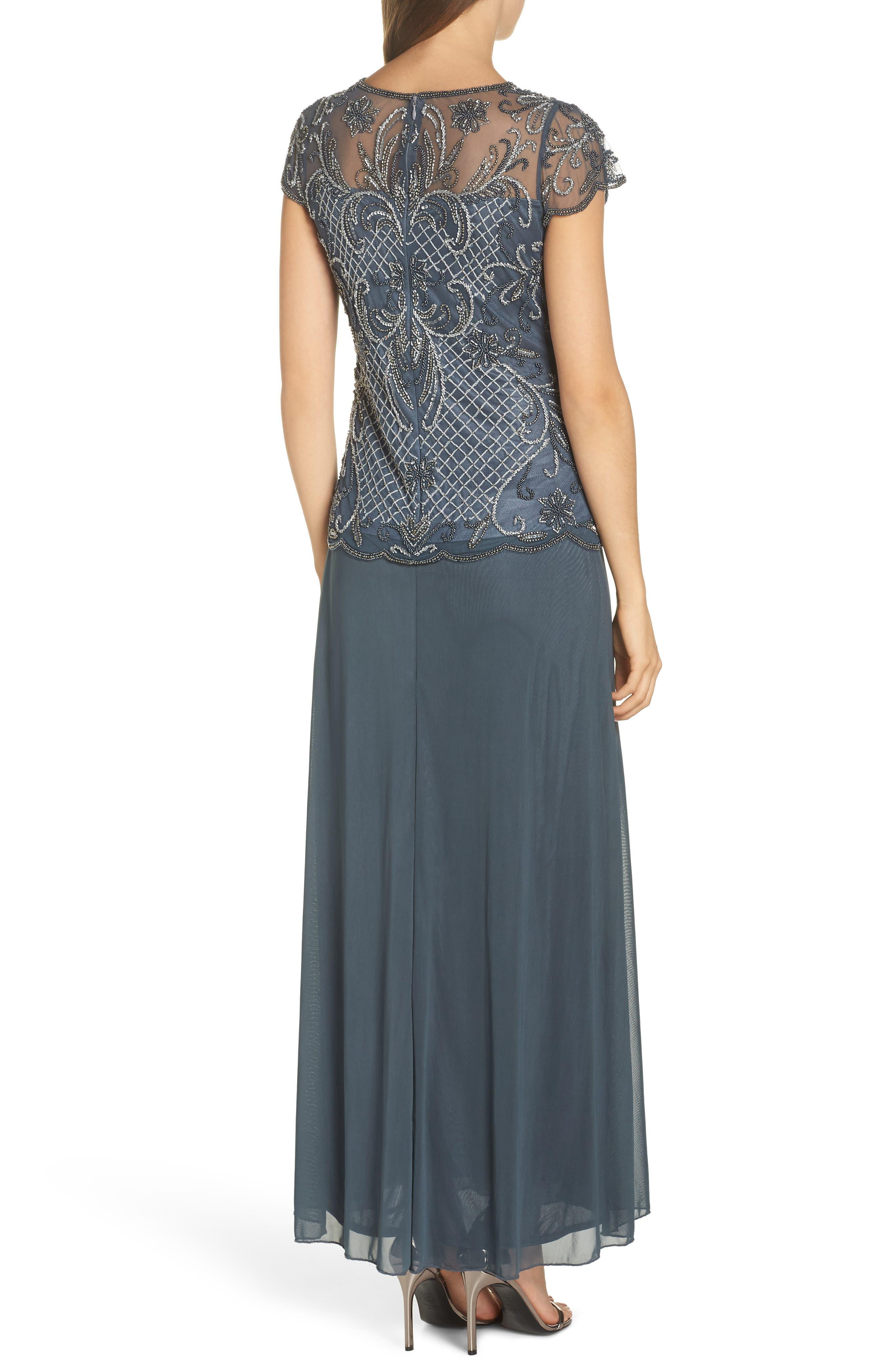PISARRO NIGHTS, Mock Two-Piece Beaded Bodice Evening Dress, Alternate thumbnail 2, color, SLATE
