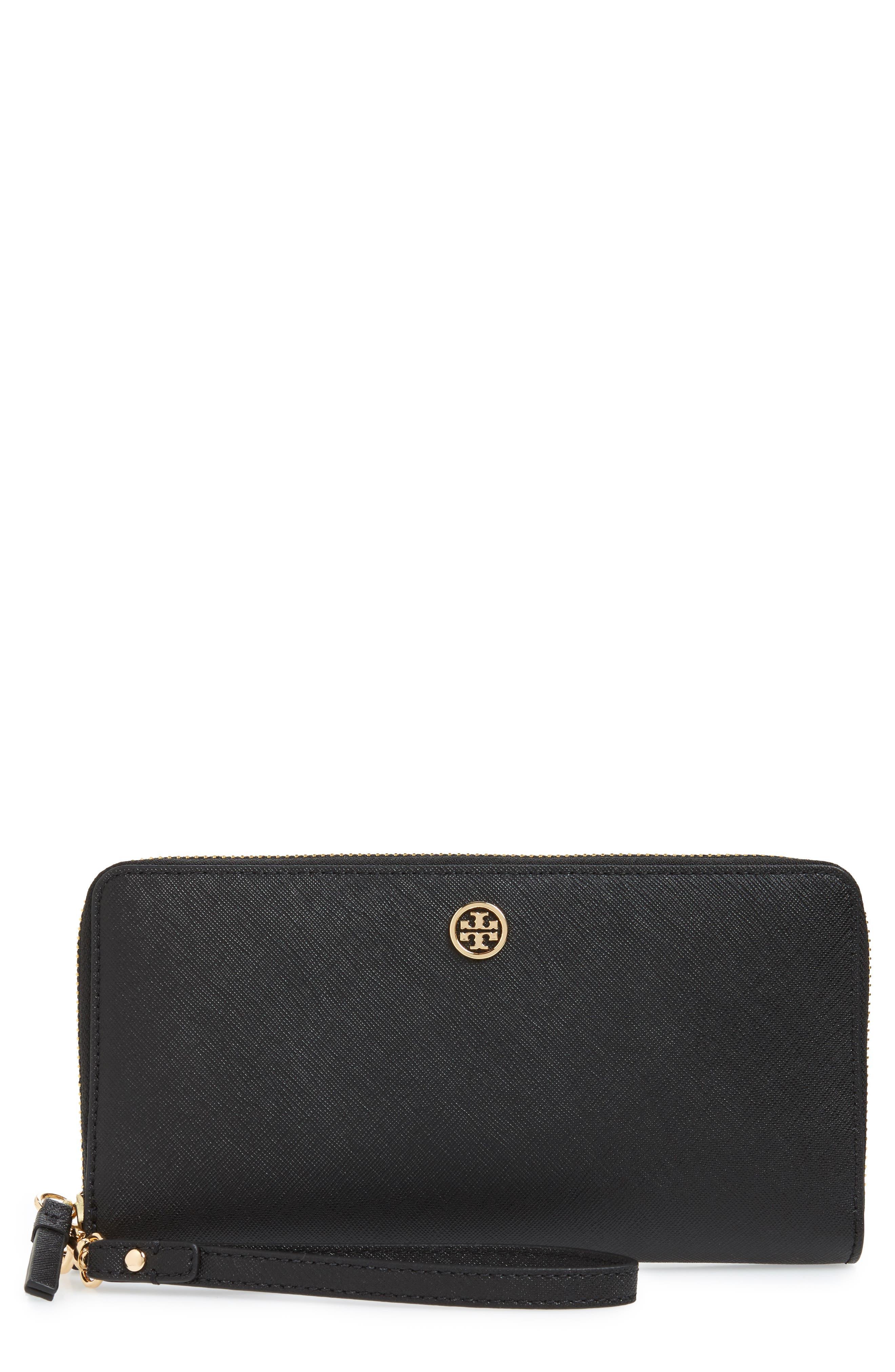 TORY BURCH, Robinson Leather Passport Continental Wallet, Main thumbnail 1, color, BLACK / ROYAL NAVY