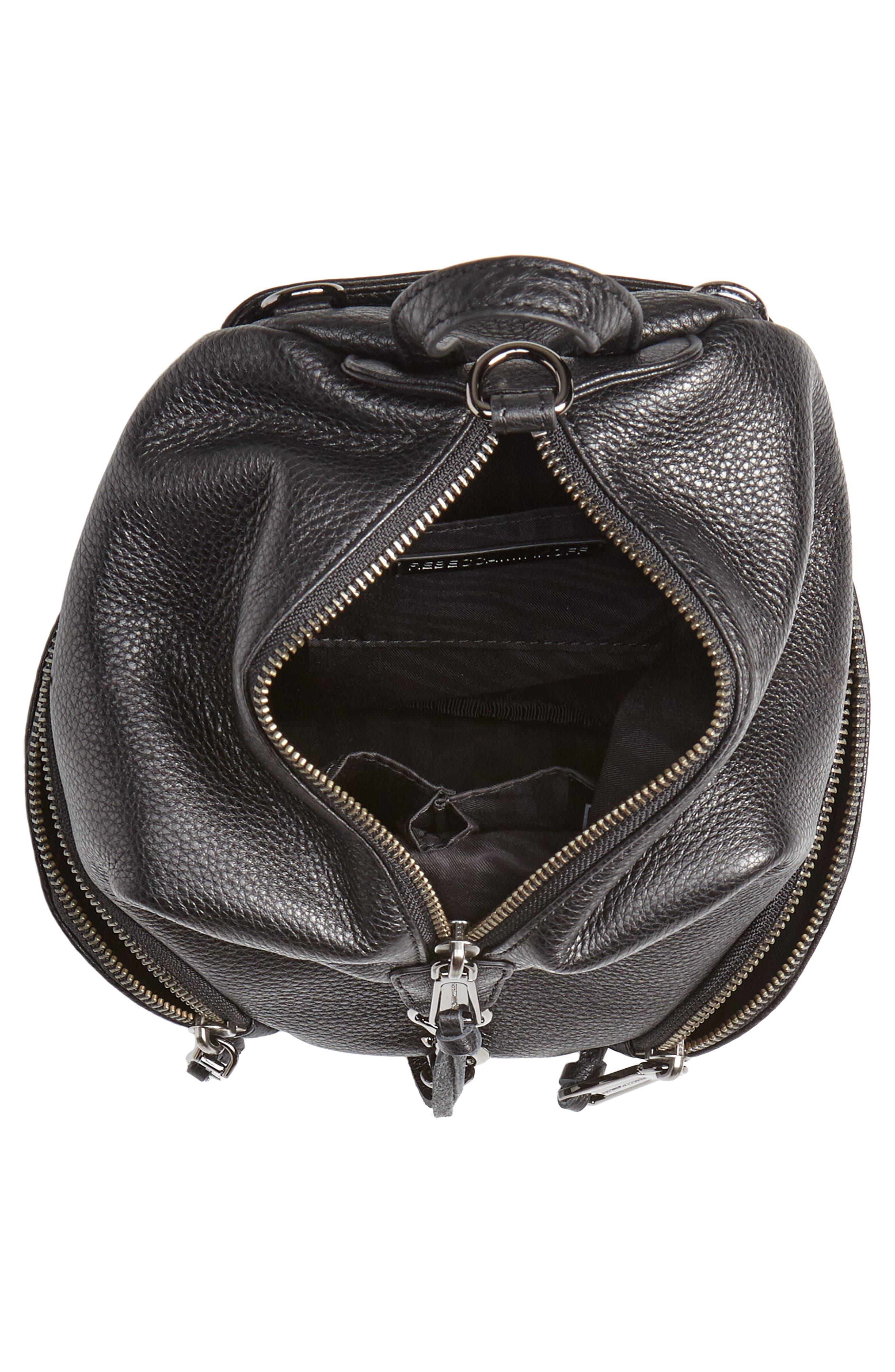 REBECCA MINKOFF, Mini Julian Pebbled Leather Convertible Backpack, Alternate thumbnail 6, color, BLACK