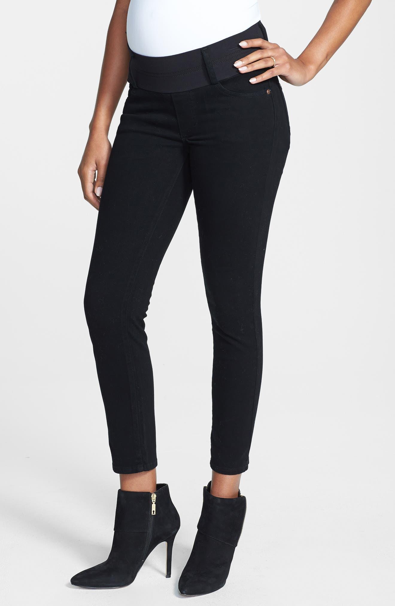 MATERNAL AMERICA, Maternity Skinny Ankle Stretch Jeans, Alternate thumbnail 4, color, BLACK