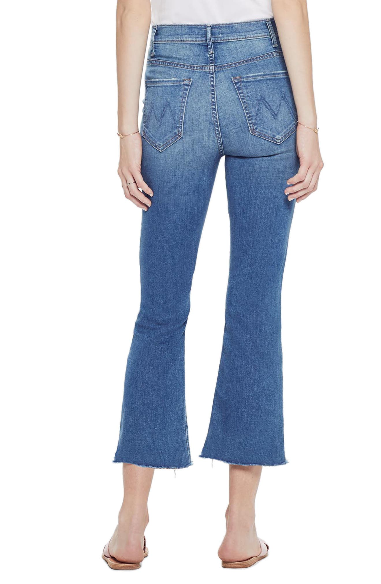 MOTHER, The Hustler High Waist Ankle Flare Jeans, Alternate thumbnail 2, color, WISHFUL DRINKING