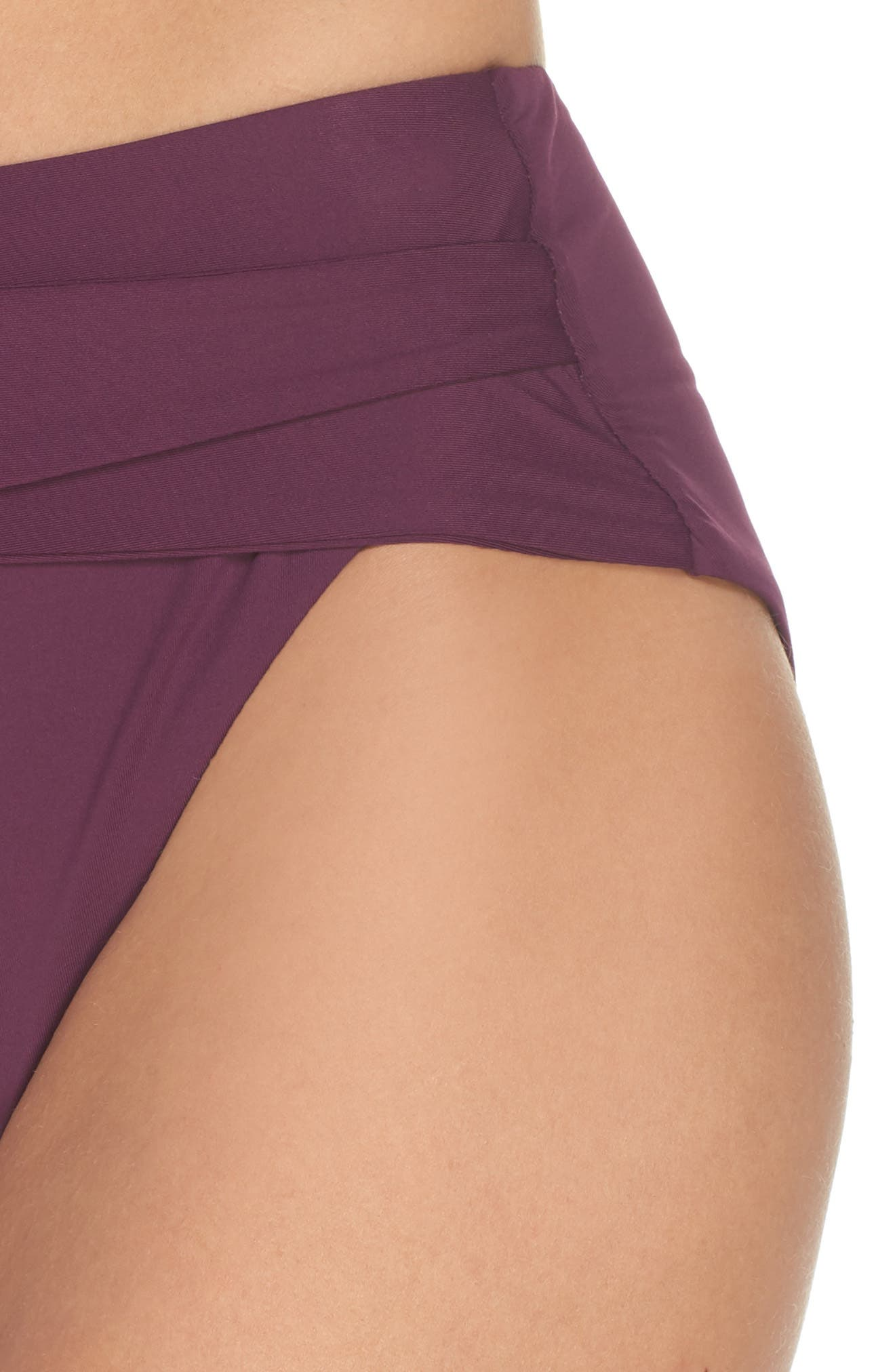 BECCA, Color Code Crossover High Waist Bikini Bottoms, Alternate thumbnail 5, color, MERLOT