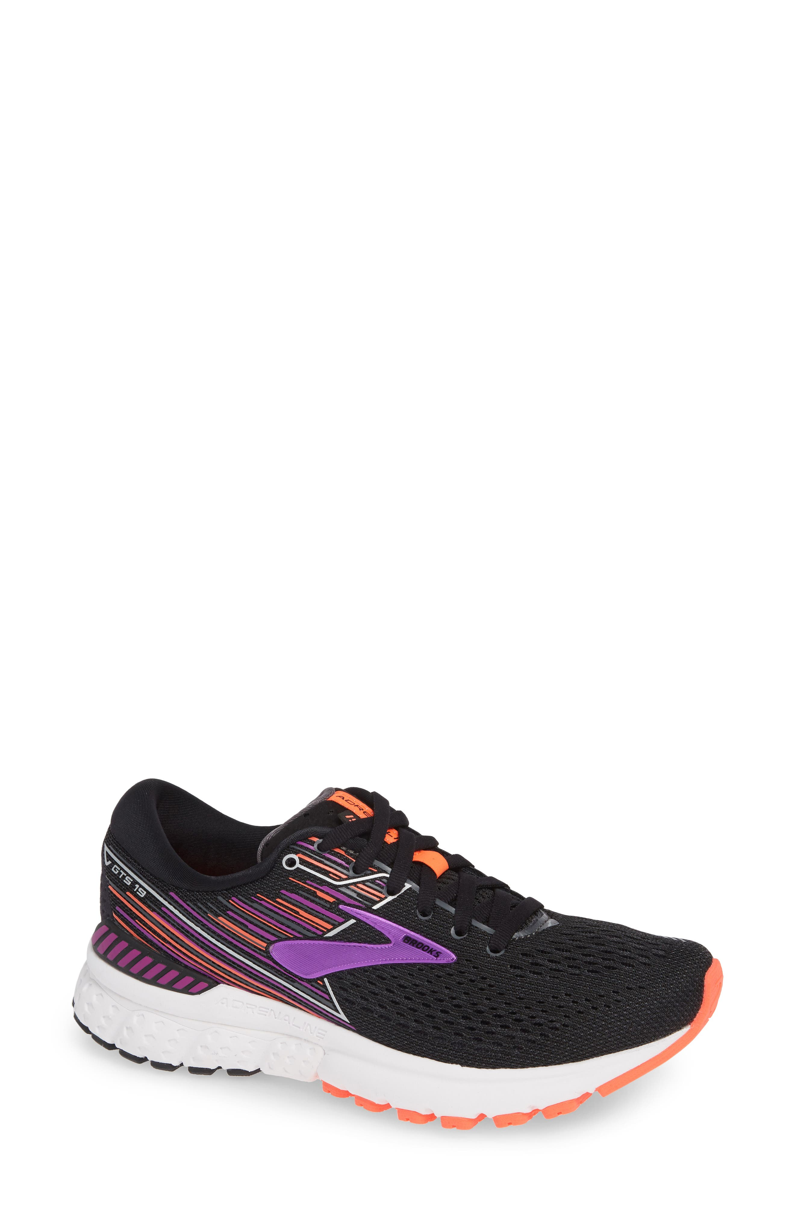 BROOKS, Adrenaline GTS 19 Running Shoe, Main thumbnail 1, color, BLACK/ PURPLE/ CORAL