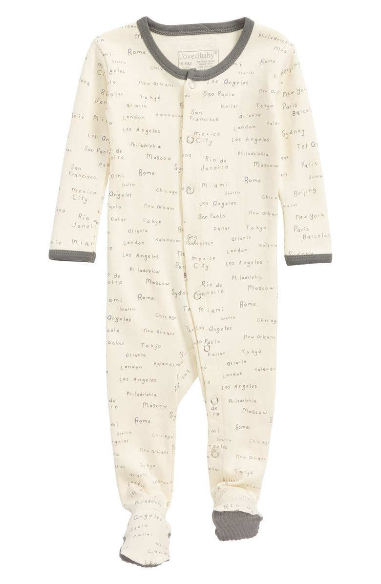 L'ovedbaby City Names Organic Cotton Footie (Baby) | Nordstrom