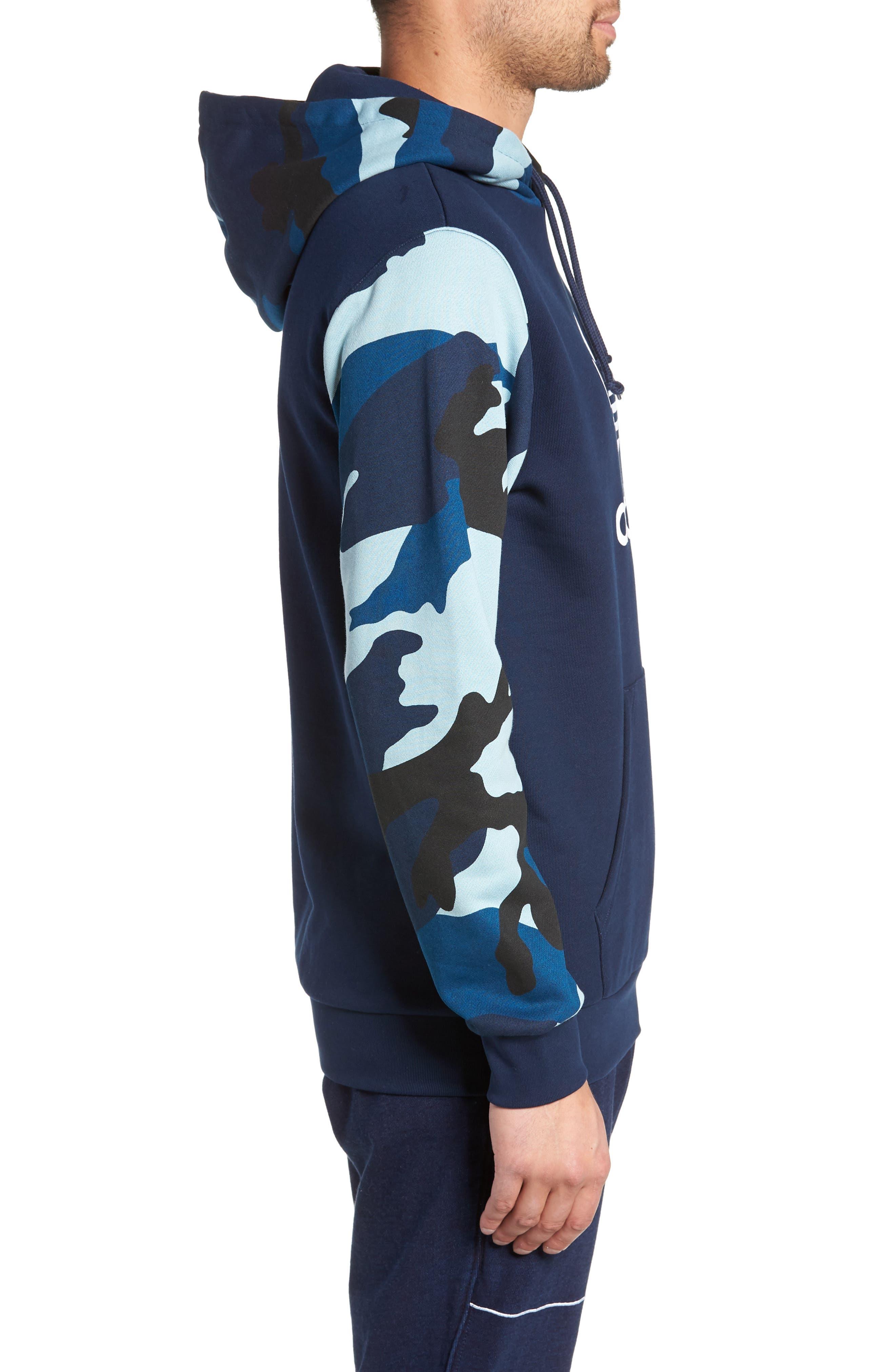ADIDAS ORIGINALS, Camo Hooded Sweatshirt, Alternate thumbnail 3, color, COLLEGIATE NAVY