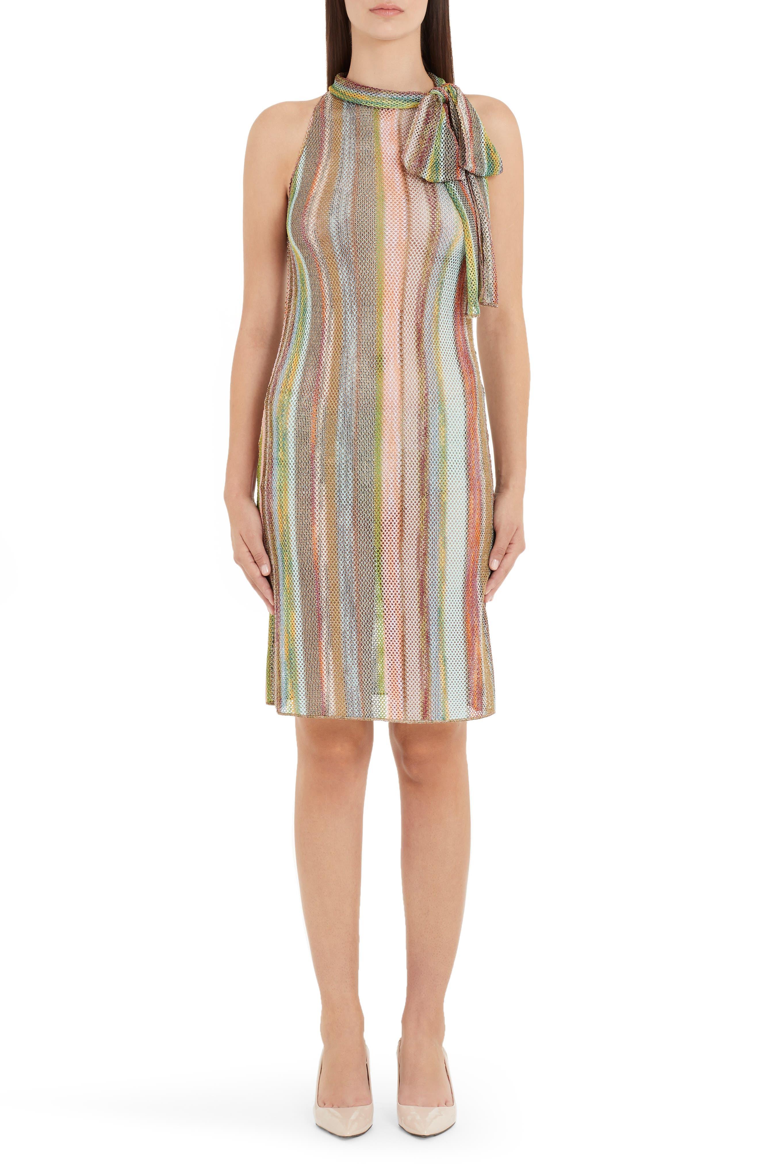 Missoni Stripe Tie Neck Sweater Dress, US / 40 IT - Brown