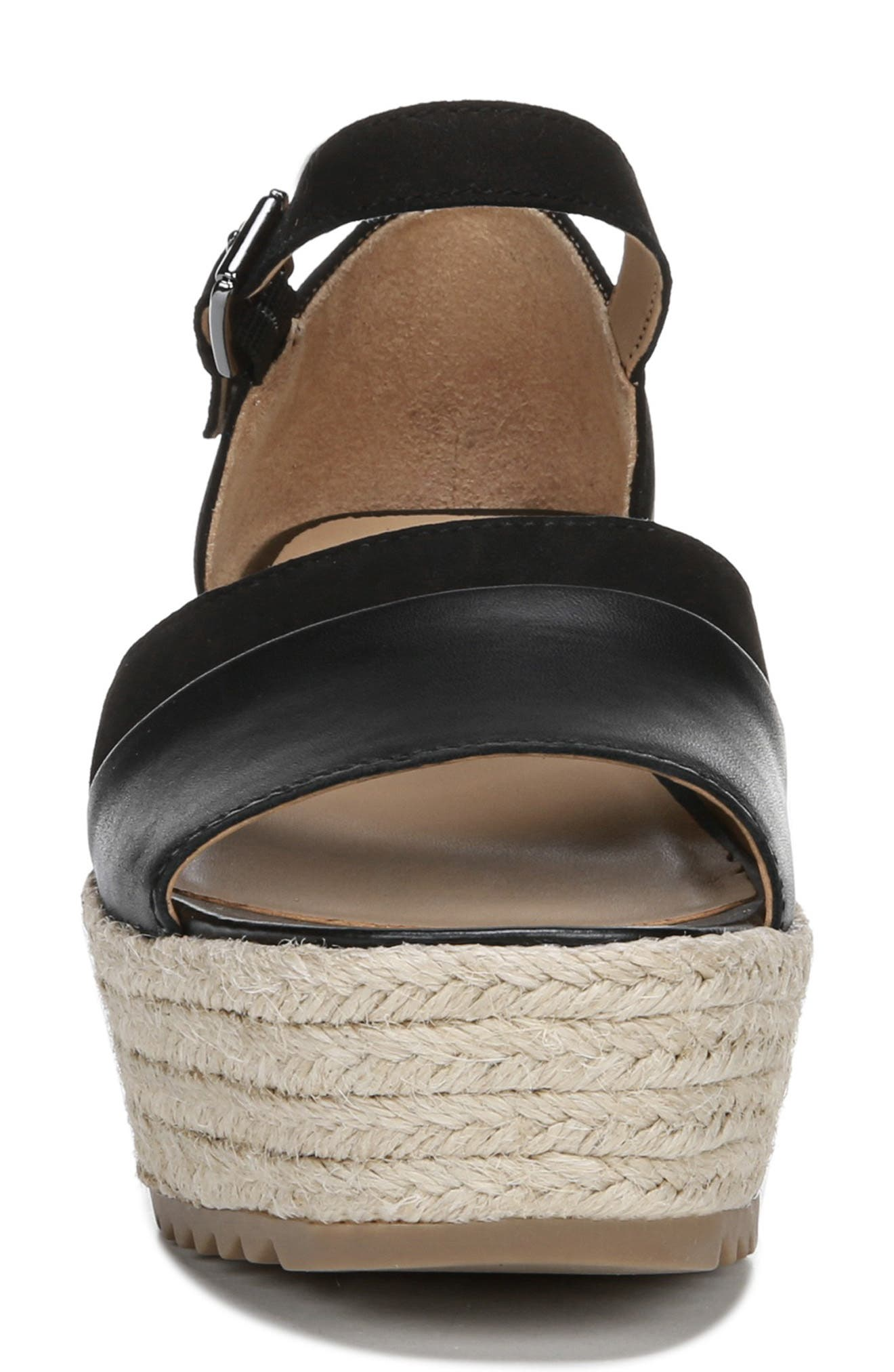 NATURALIZER, Opal Espadrille Platform Wedge Sandal, Alternate thumbnail 4, color, BLACK LEATHER