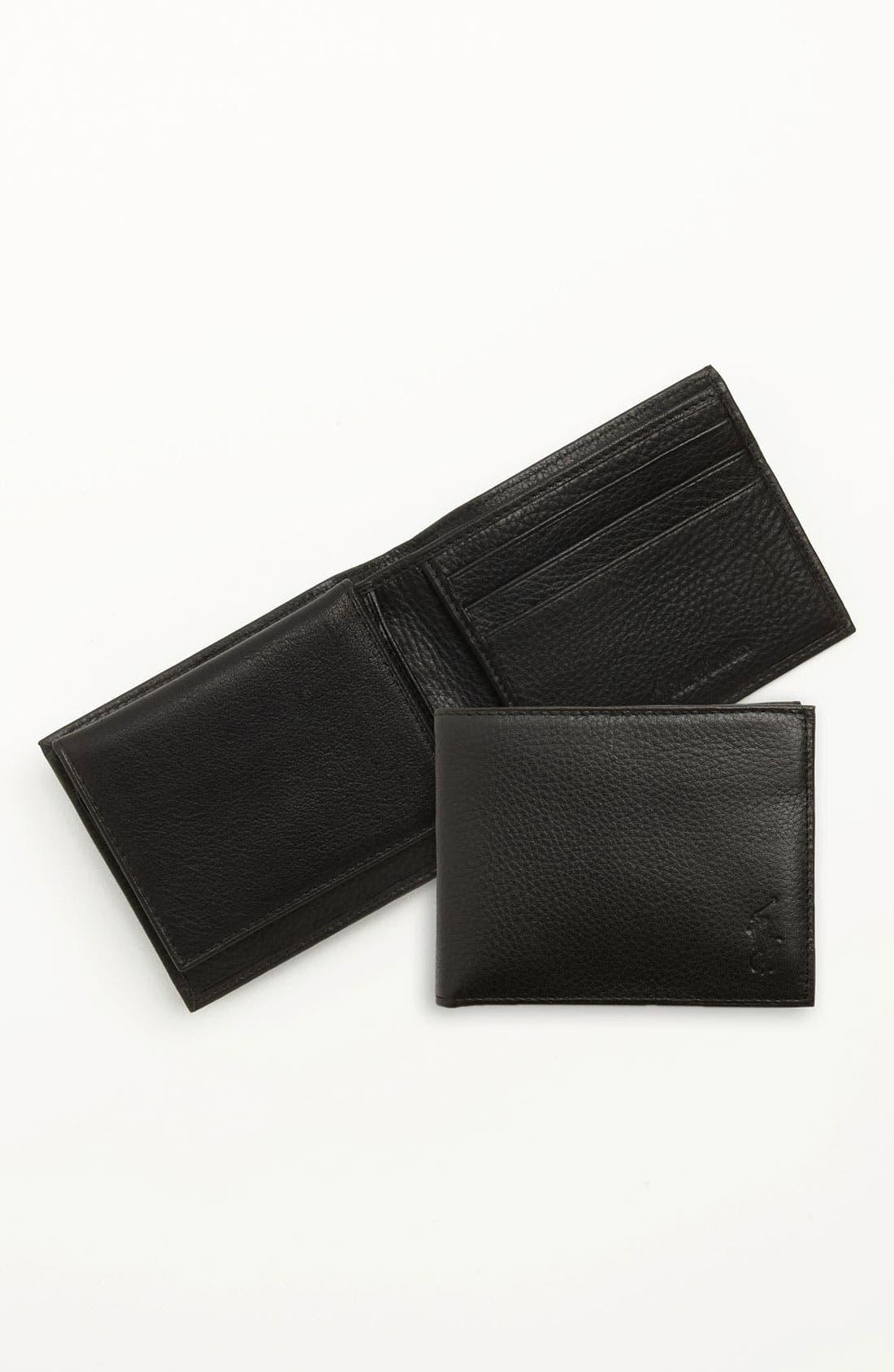 POLO RALPH LAUREN, Leather Passcase Wallet, Alternate thumbnail 5, color, BLACK