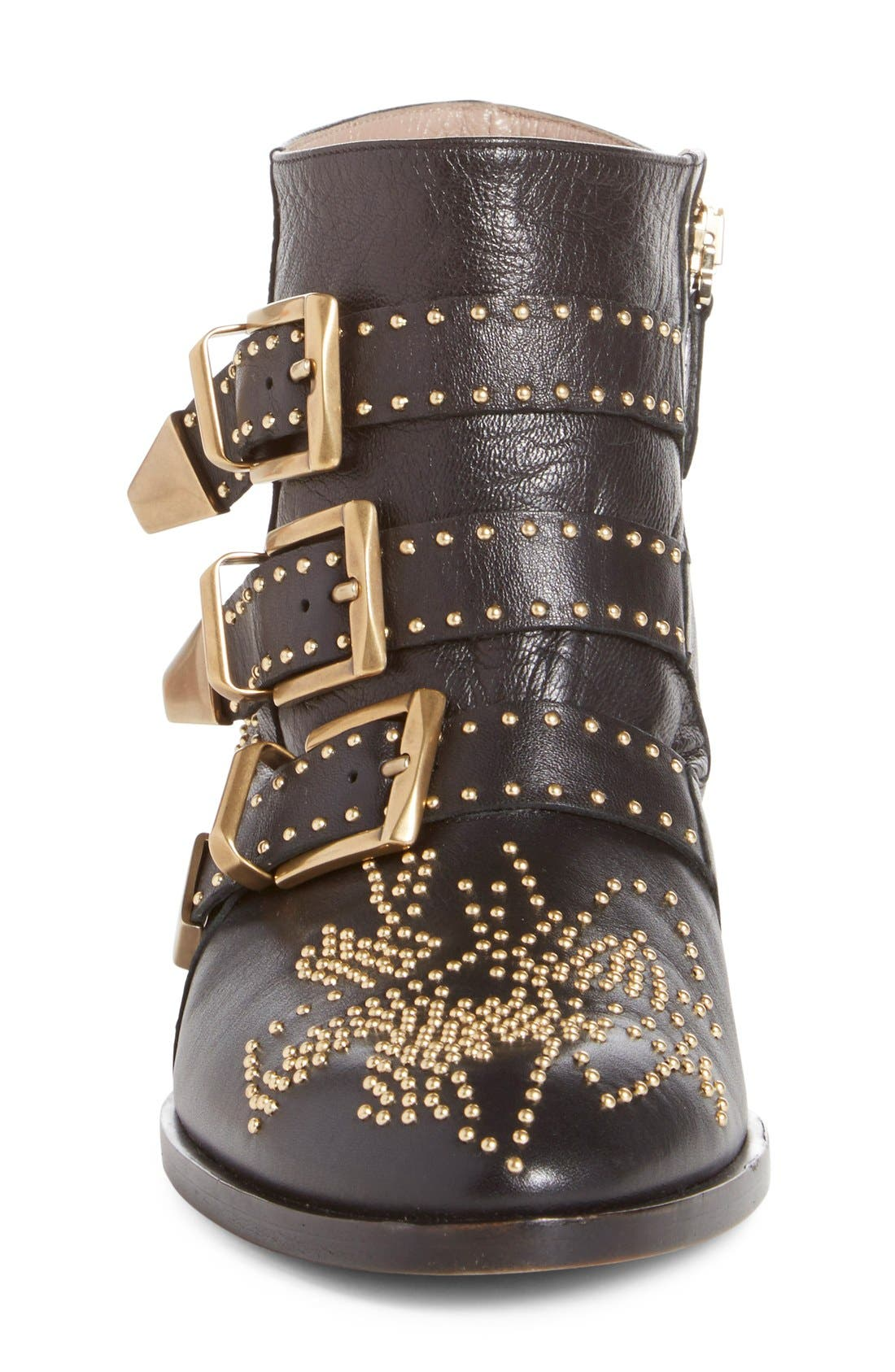 CHLOÉ, Susanna Stud Buckle Bootie, Alternate thumbnail 8, color, BLACK GOLD LEATHER