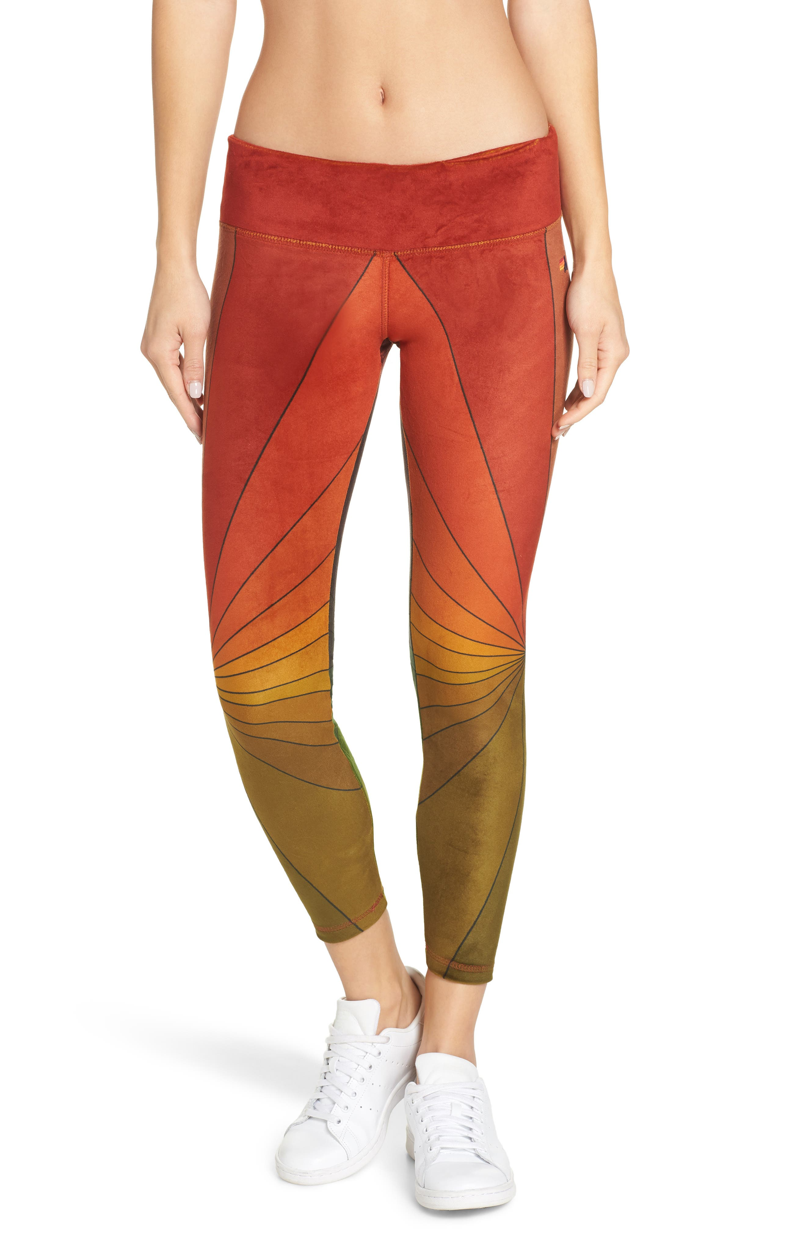 AVIATOR NATION, Rainbow Sunburst Velour Leggings, Main thumbnail 1, color, 600