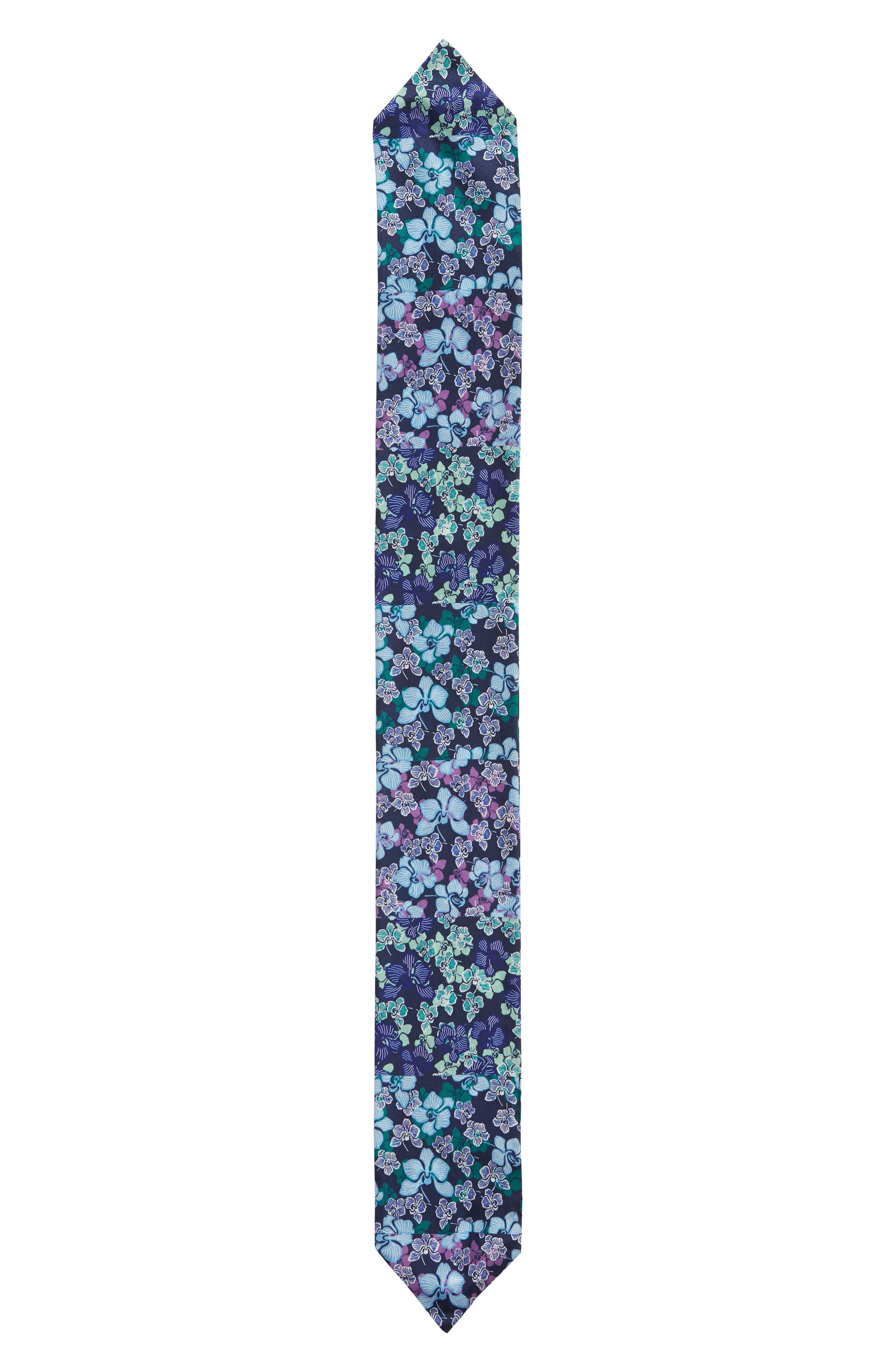 HALOGEN<SUP>®</SUP>, Floral Silk Tie Scarf, Alternate thumbnail 3, color, BLUE GLAM FLORA