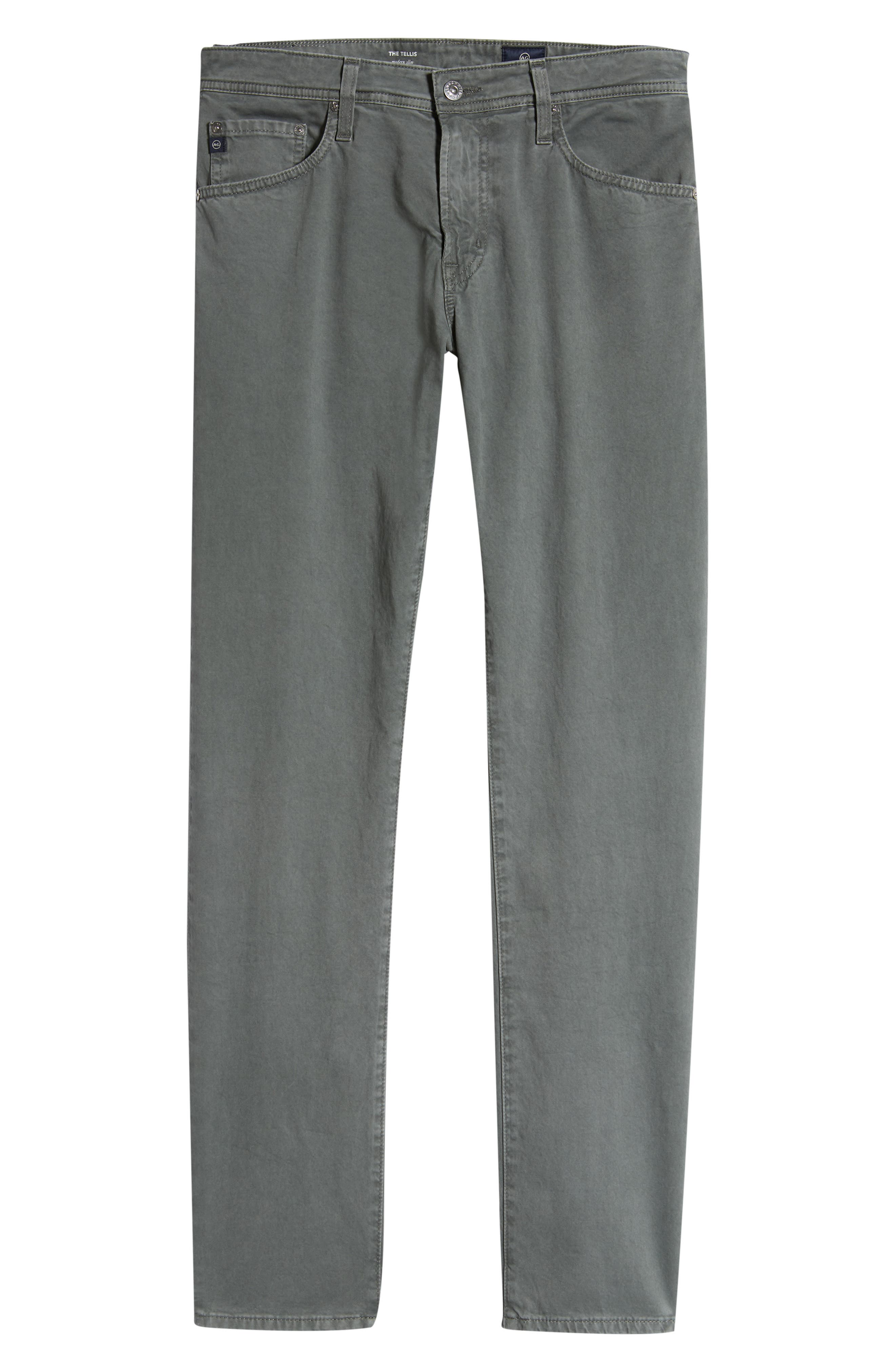 AG, Tellis SUD Modern Slim Stretch Twill Pants, Alternate thumbnail 7, color, SULFUR FOG BEACON