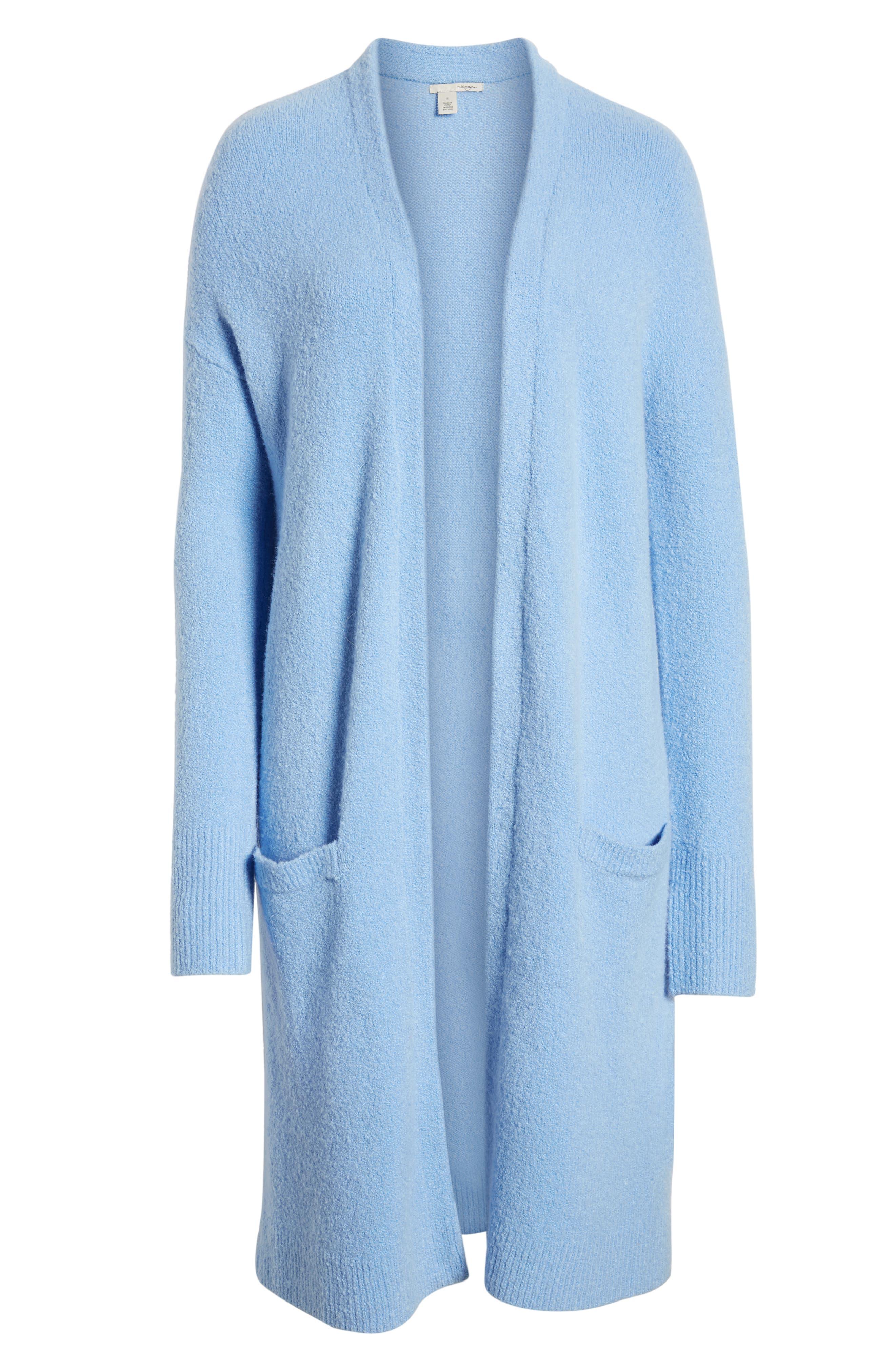 HALOGEN<SUP>®</SUP>, Long Open Front Cardigan, Alternate thumbnail 6, color, BLUE CORNFLOWER