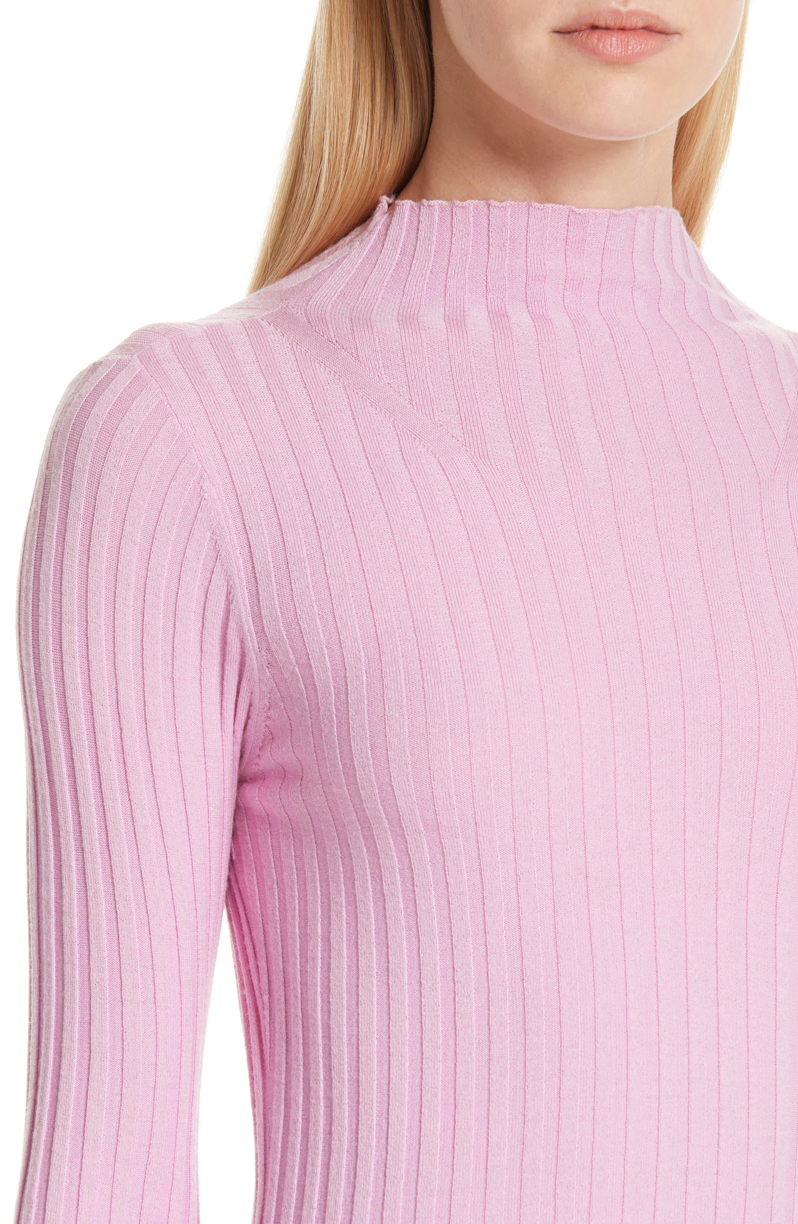 A.L.C., Lamont Funnel Neck Sweater, Alternate thumbnail 4, color, BUBBLEGUM