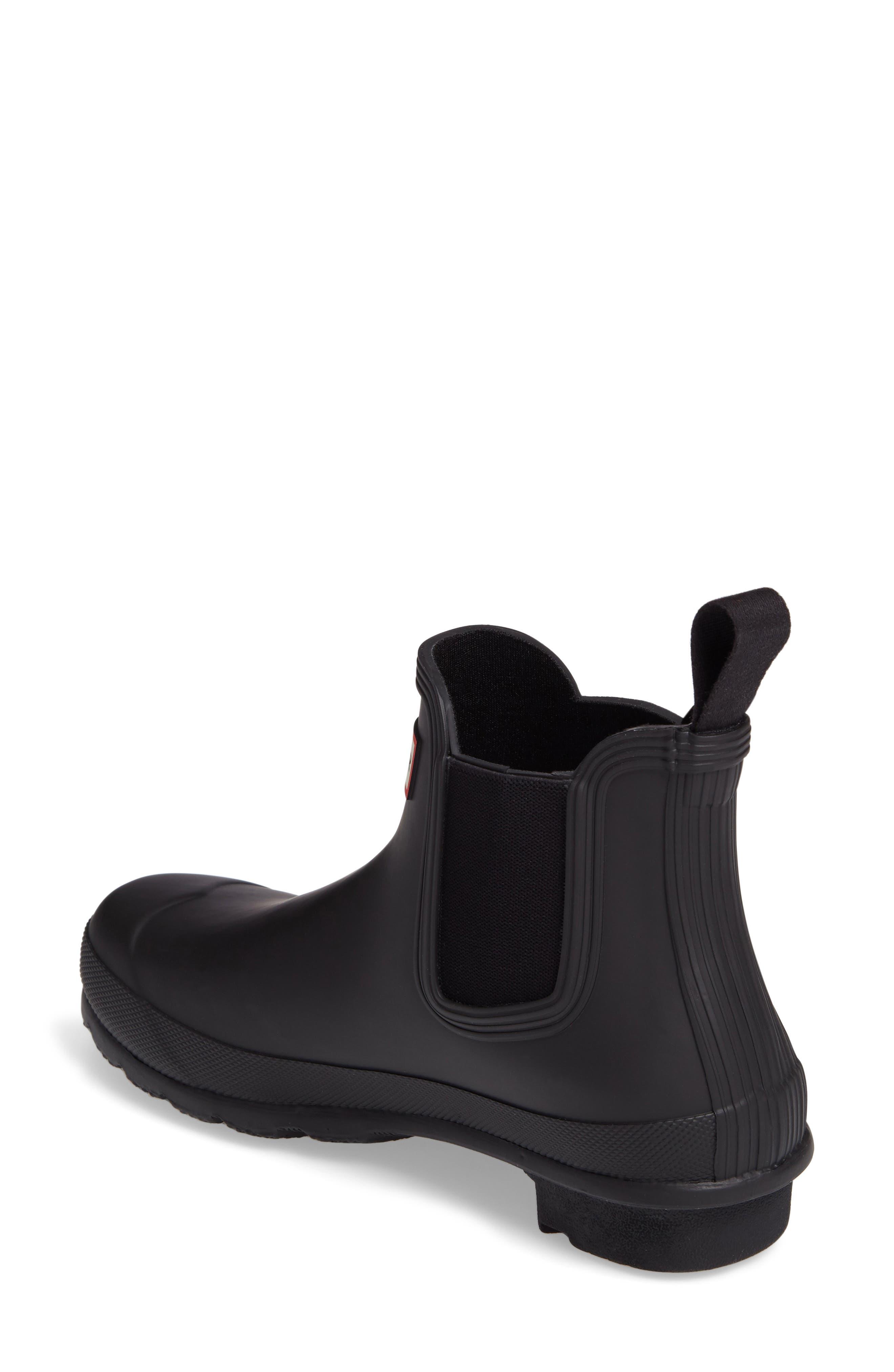 HUNTER, Original Waterproof Chelsea Rain Boot, Alternate thumbnail 2, color, BLACK MATTE